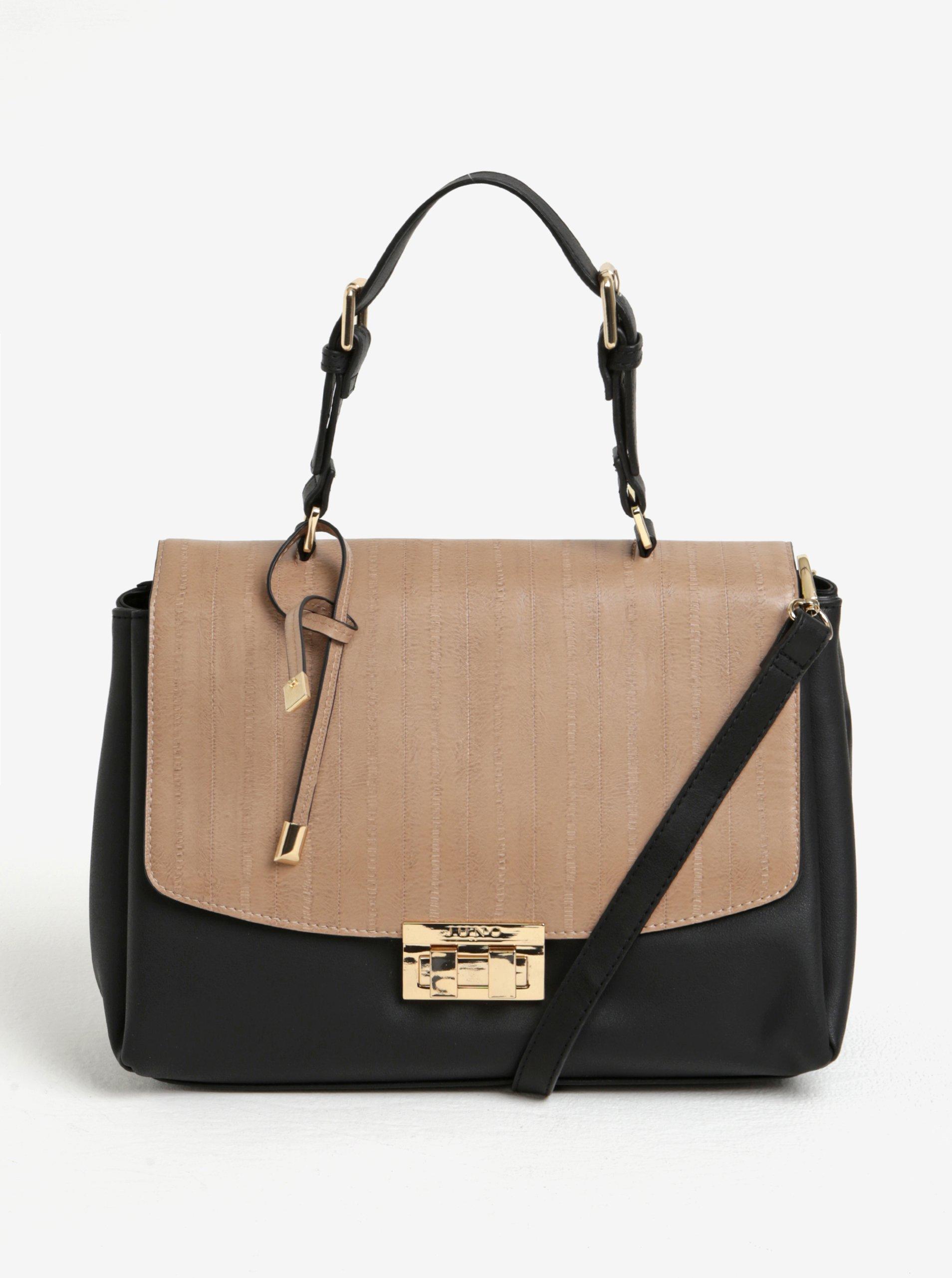 Béžovo-čierna kabelka s chlopňou Juno