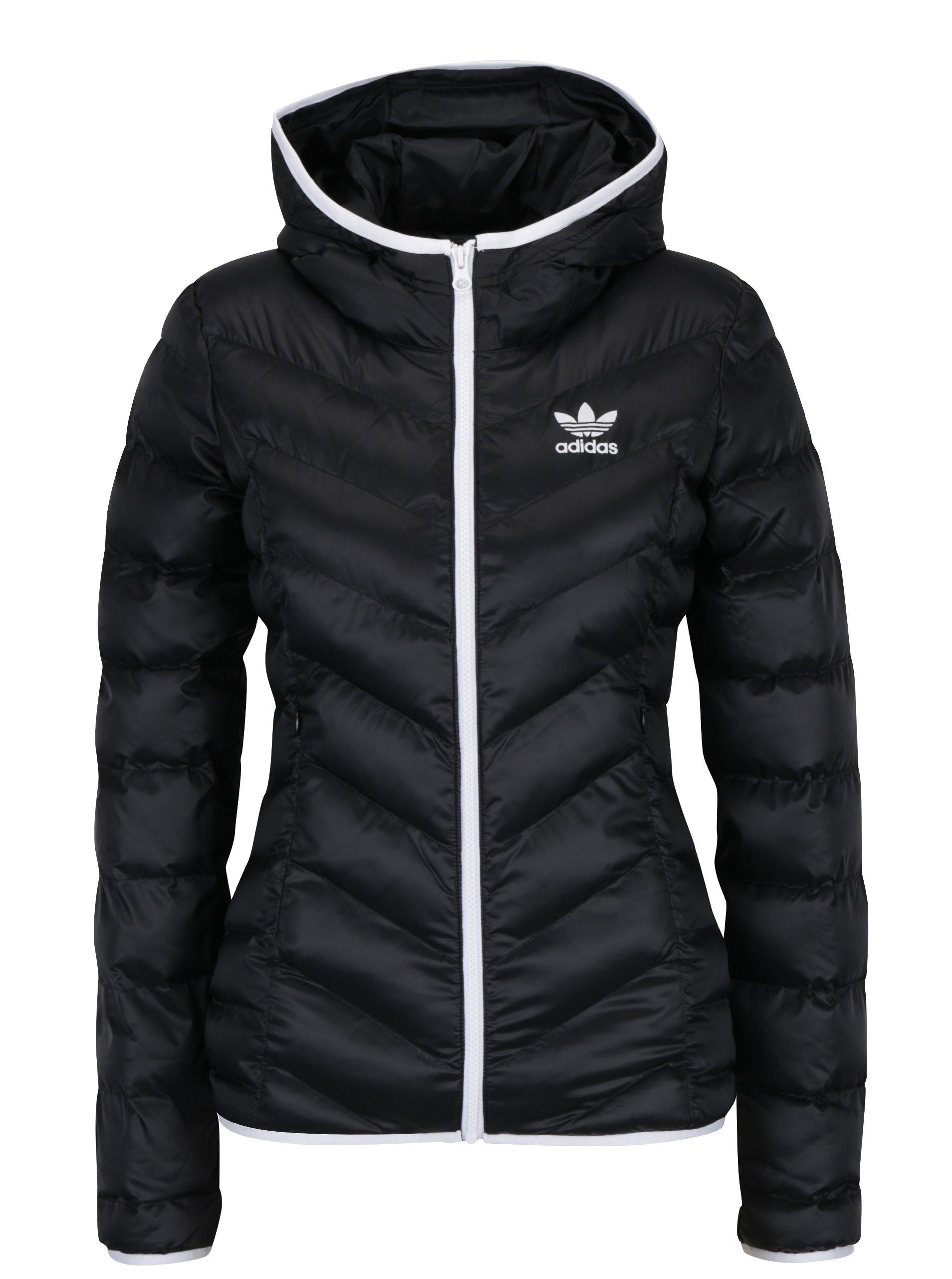 Černá dámská prošívaná bunda s kapucí adidas Originals BS5025