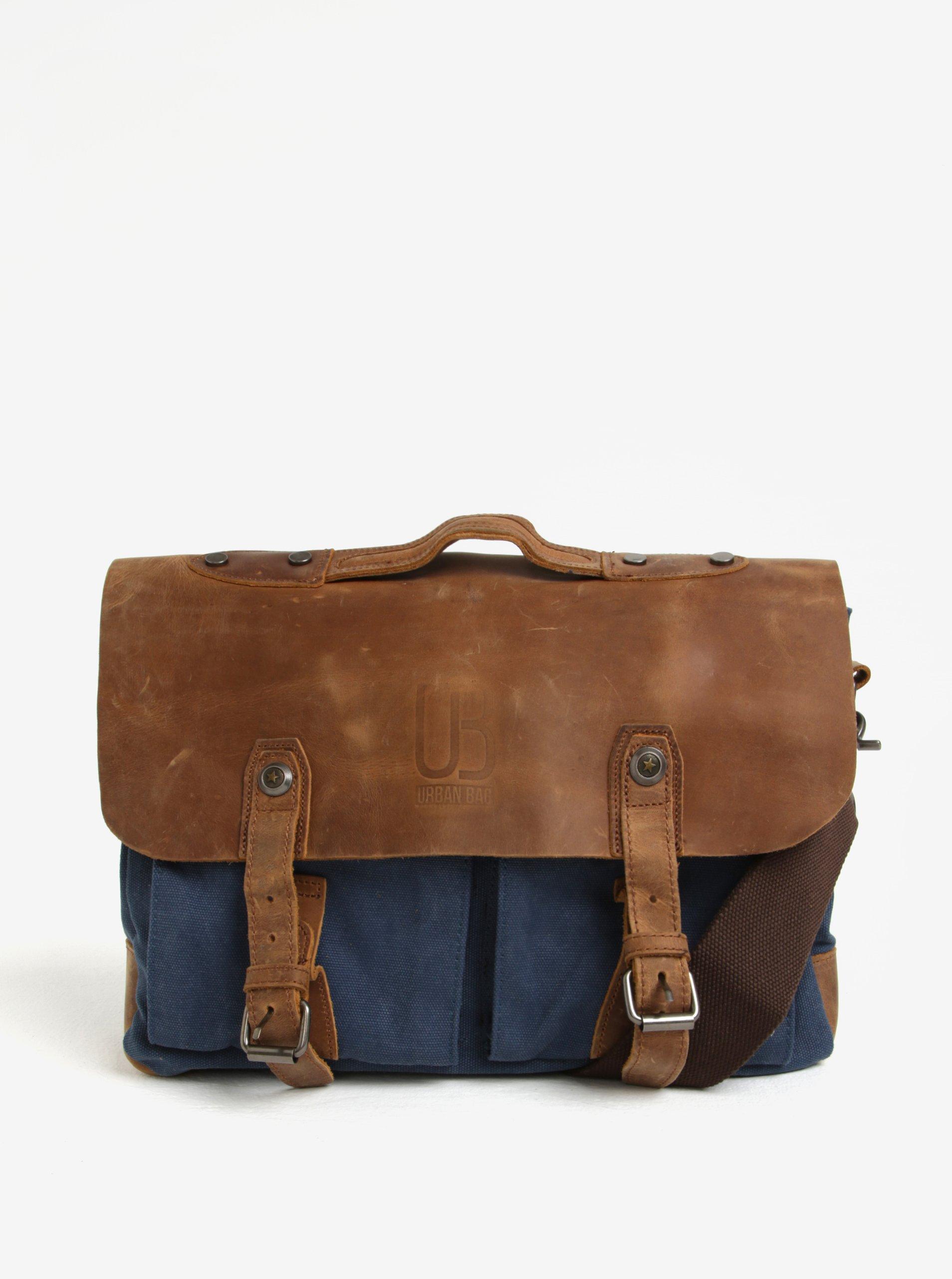 Hnedo-modrá kožená taška Urban Bag 4eade51b716
