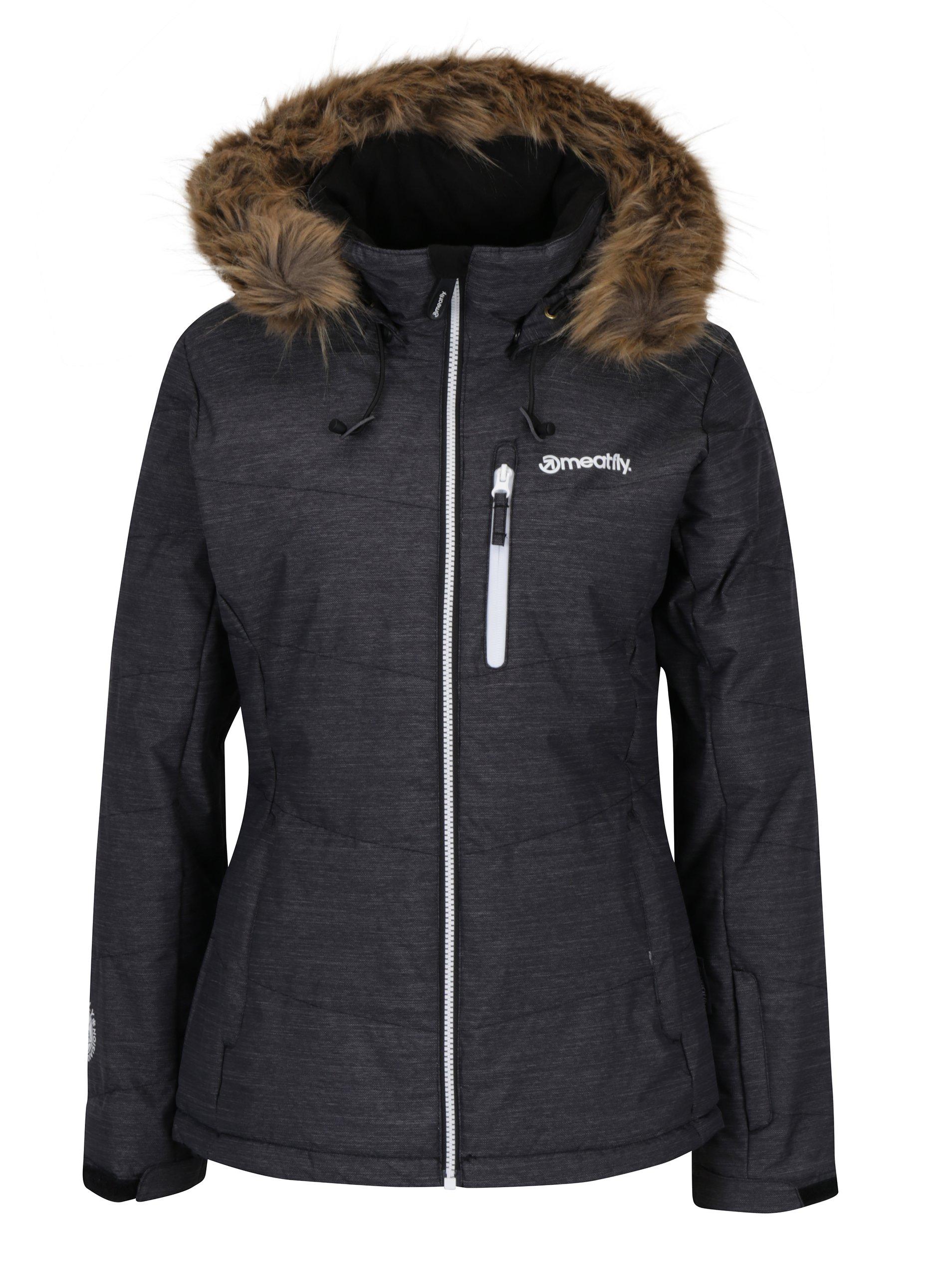 Tmavě šedá žíhaná dámská zimní funkční voděodolná bunda Meatfly Fluffy