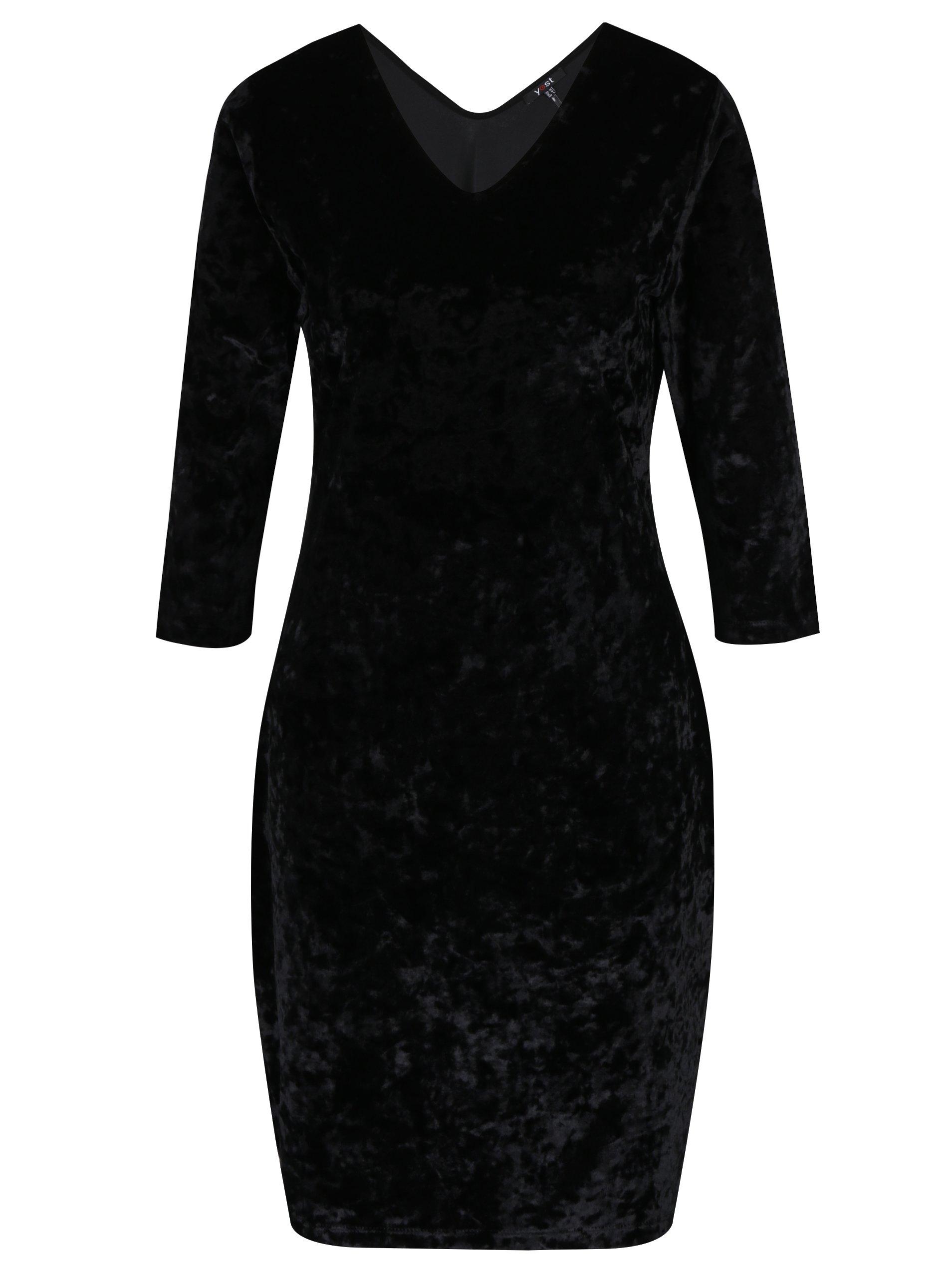 Černé sametové šaty Yest