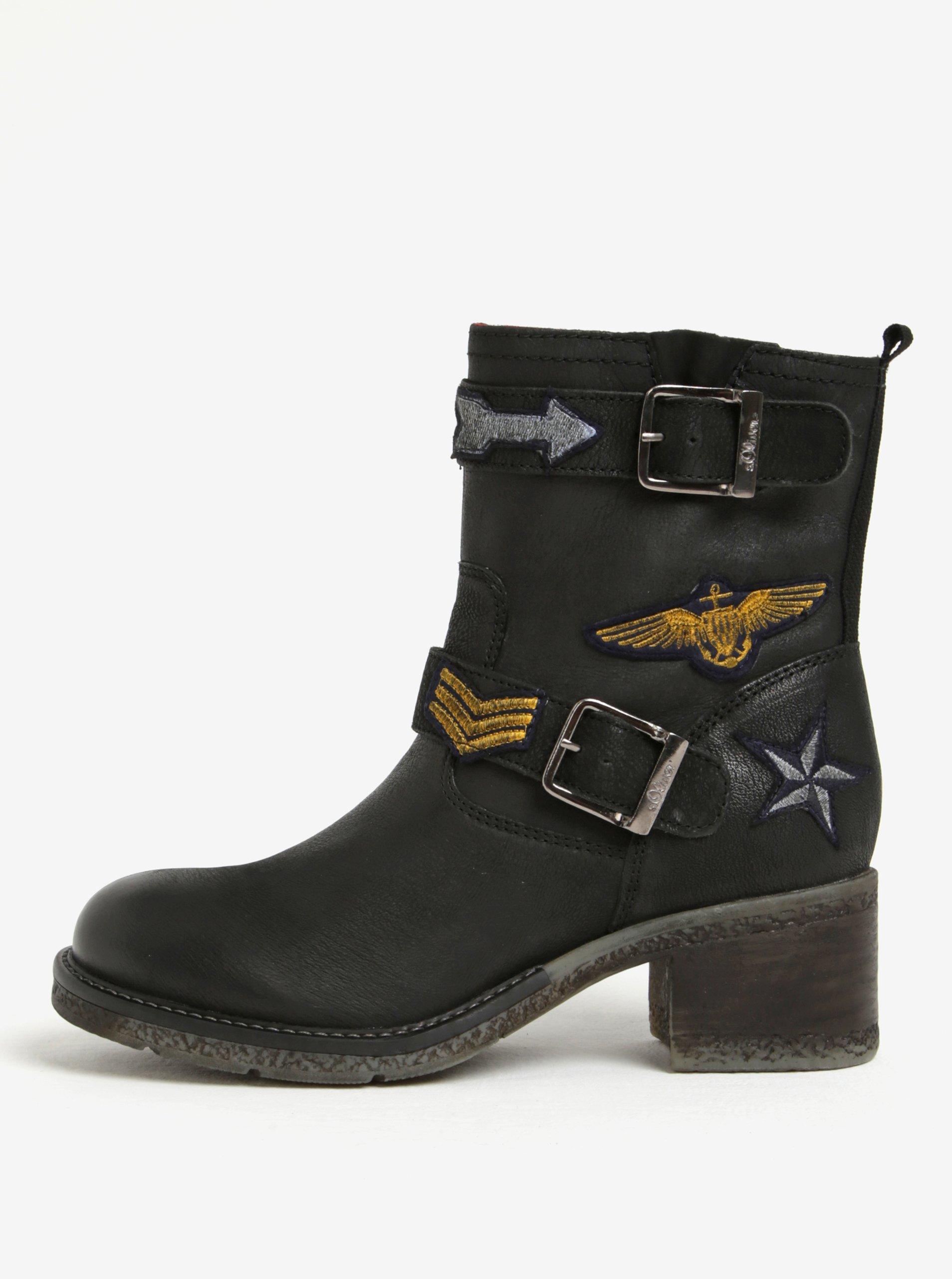 Čierne dámske zimné kožené členkové topánky s.Oliver