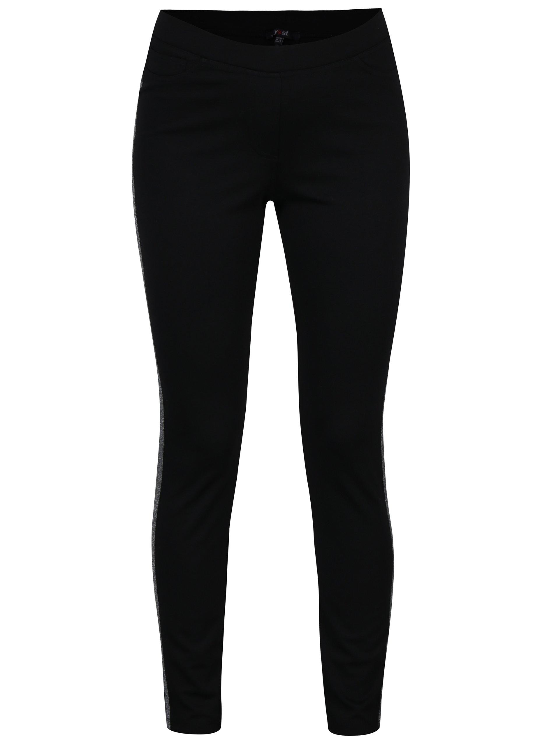 Černé elastické kalhoty s pruhem ve stříbrné barvě Yest