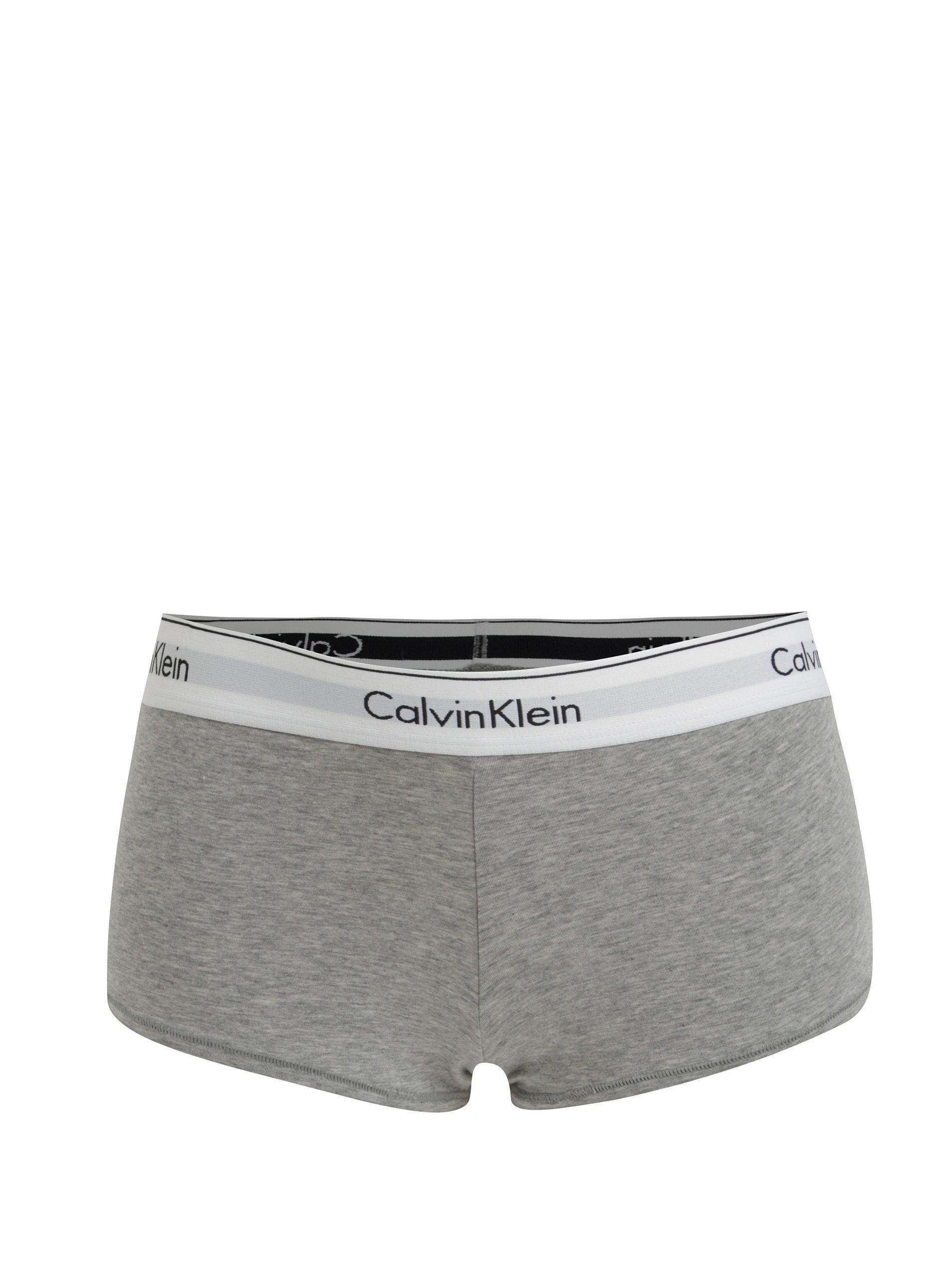 Šedé žíhané kalhotky Calvin Klein