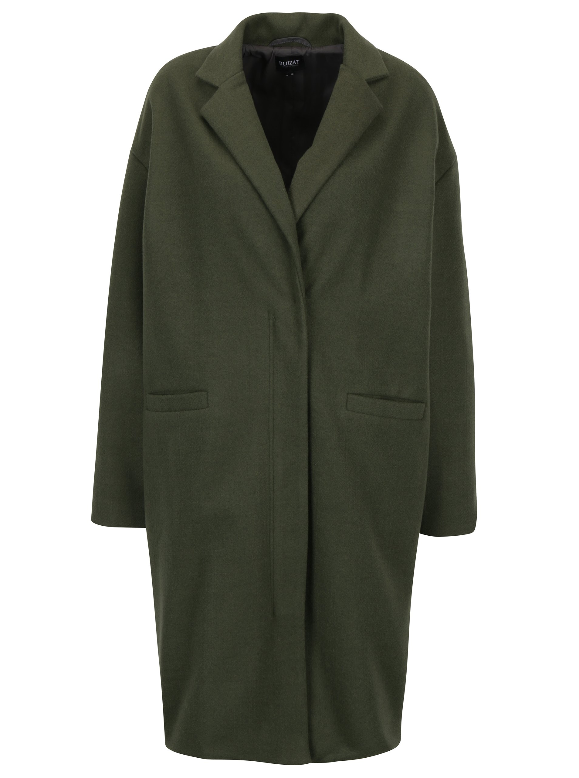 Zelený dámský vlněný kabát Bluzat