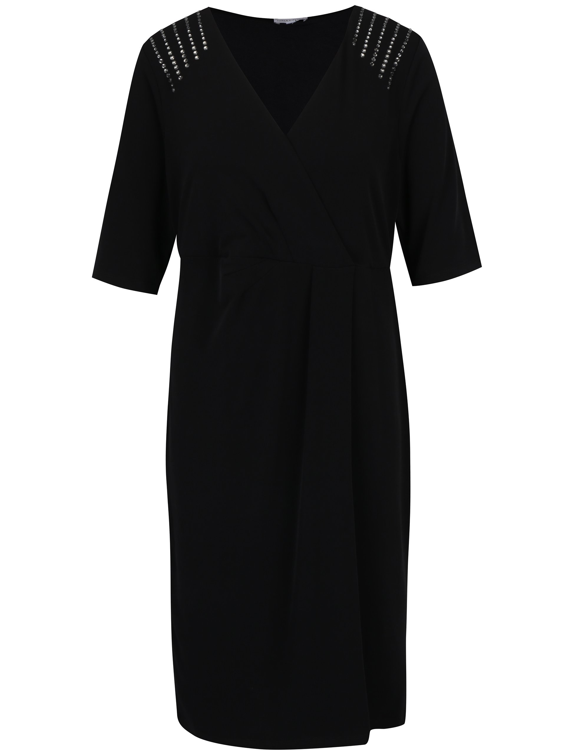 Čierne šaty s prekladaným výstrihom Gina Laura