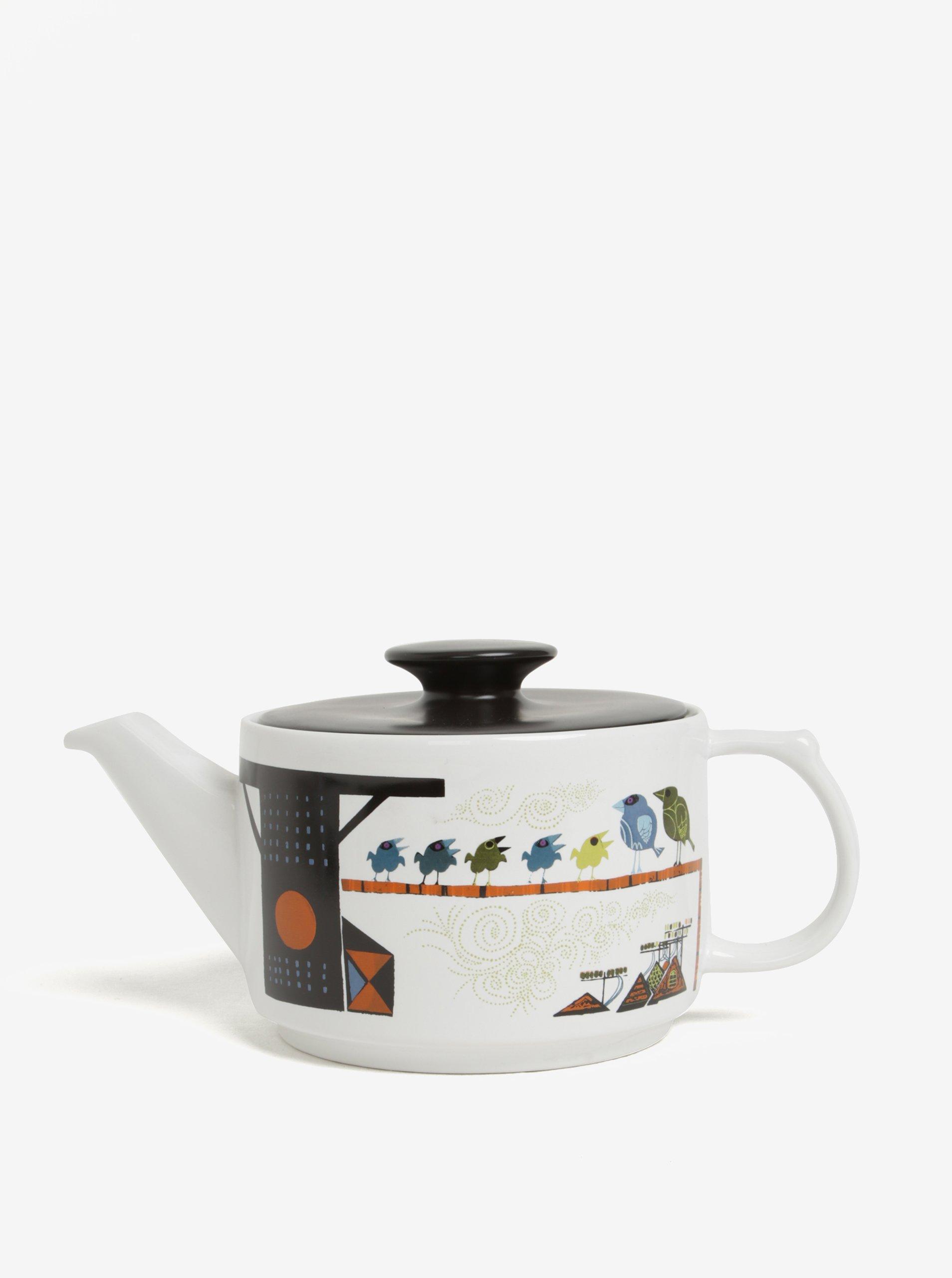Bílá čajová konvice s motivem ptačí rodiny Magpie Family of Birds