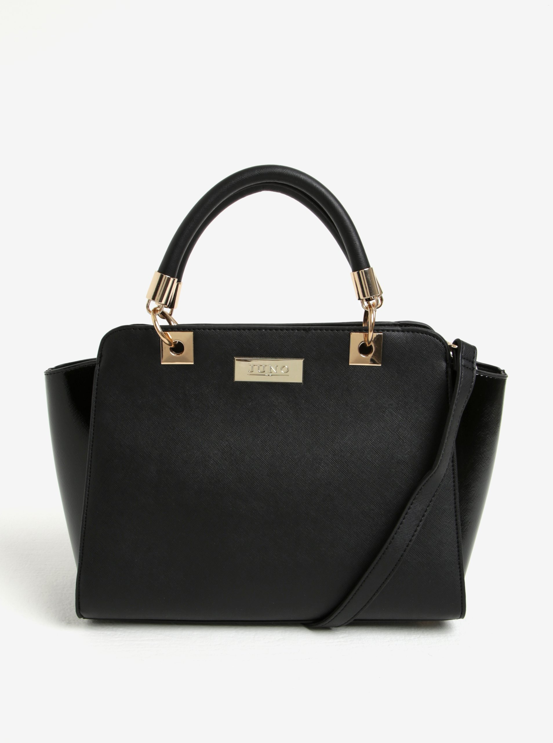 Čierna kabelka do ruky s lesklými bokmi Juno