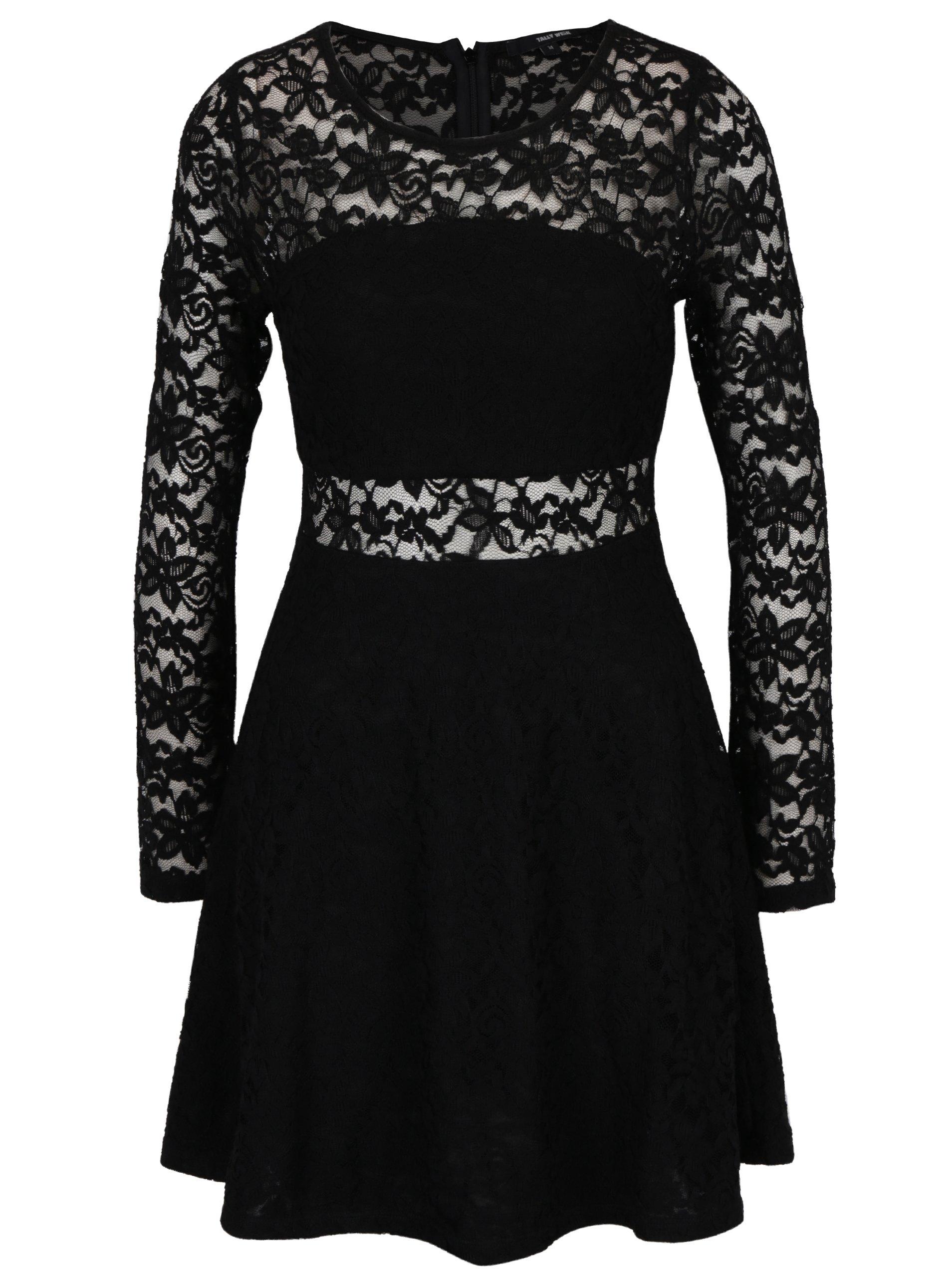 Černé krajkové šaty s dlouhým rukávem TALLY WEiJL