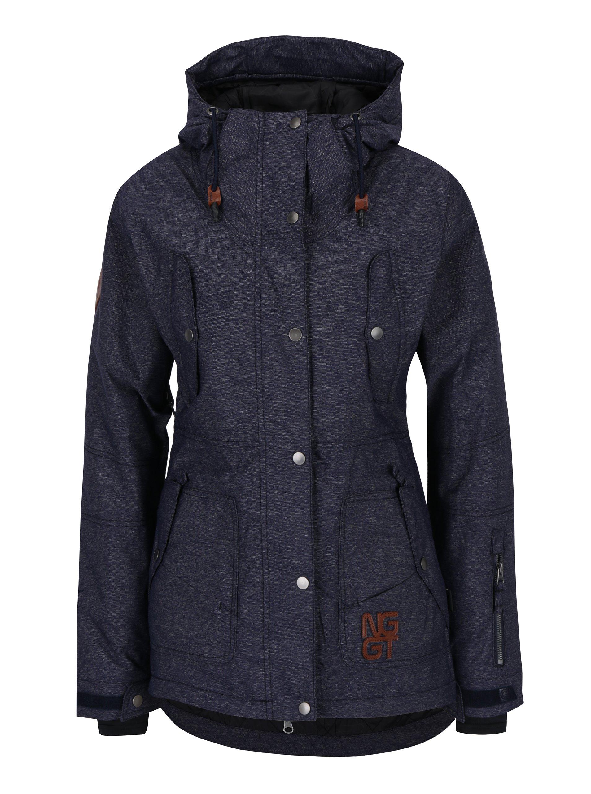 Tmavě modrá dámská žíhaná nepromokavá zimní bunda NUGGET Anja