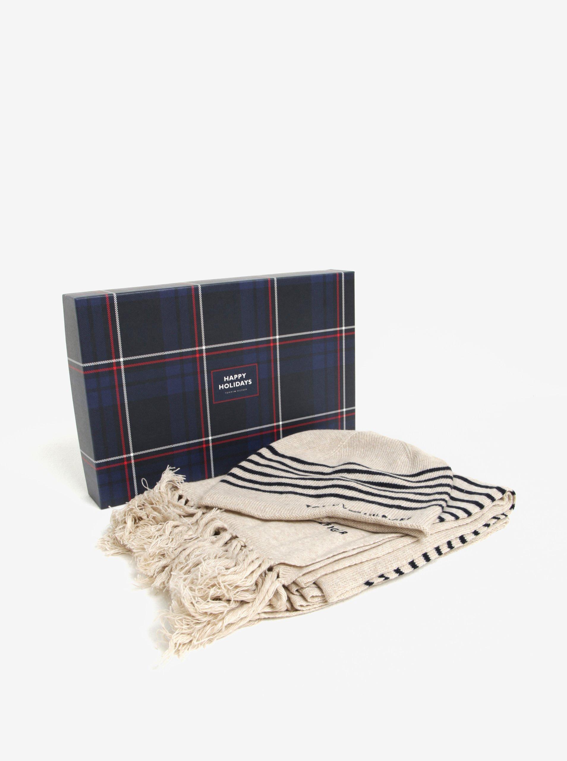 Súprava dámskej vlnenej čiapky a šálu v béžovej farbe v darčekovej škatuľke Tommy Hilfiger