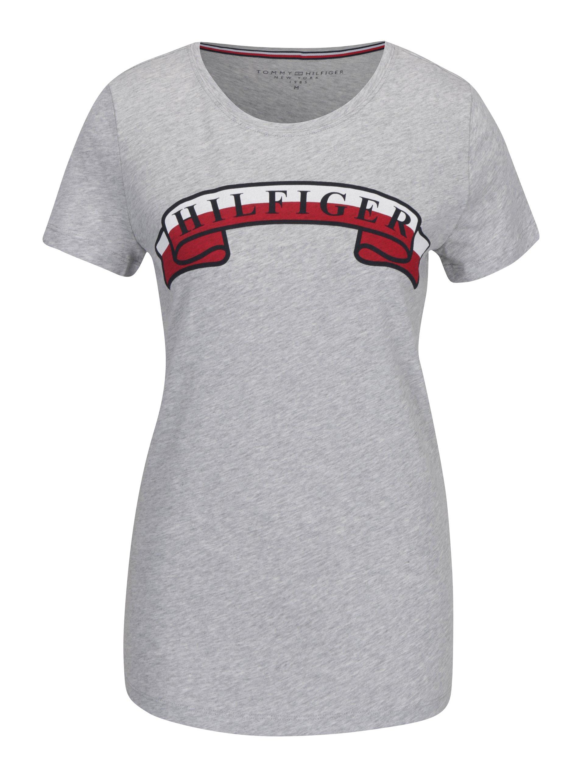f7d2ead8ce66 Světle šedé žíhané dámské tričko s potiskem Tommy Hilfiger