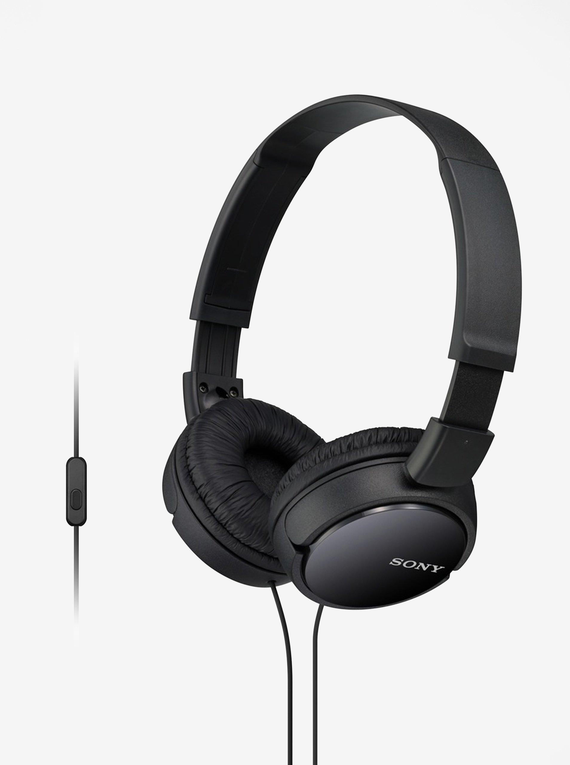 Černá skládací sluchátka s mikrofonem Sony
