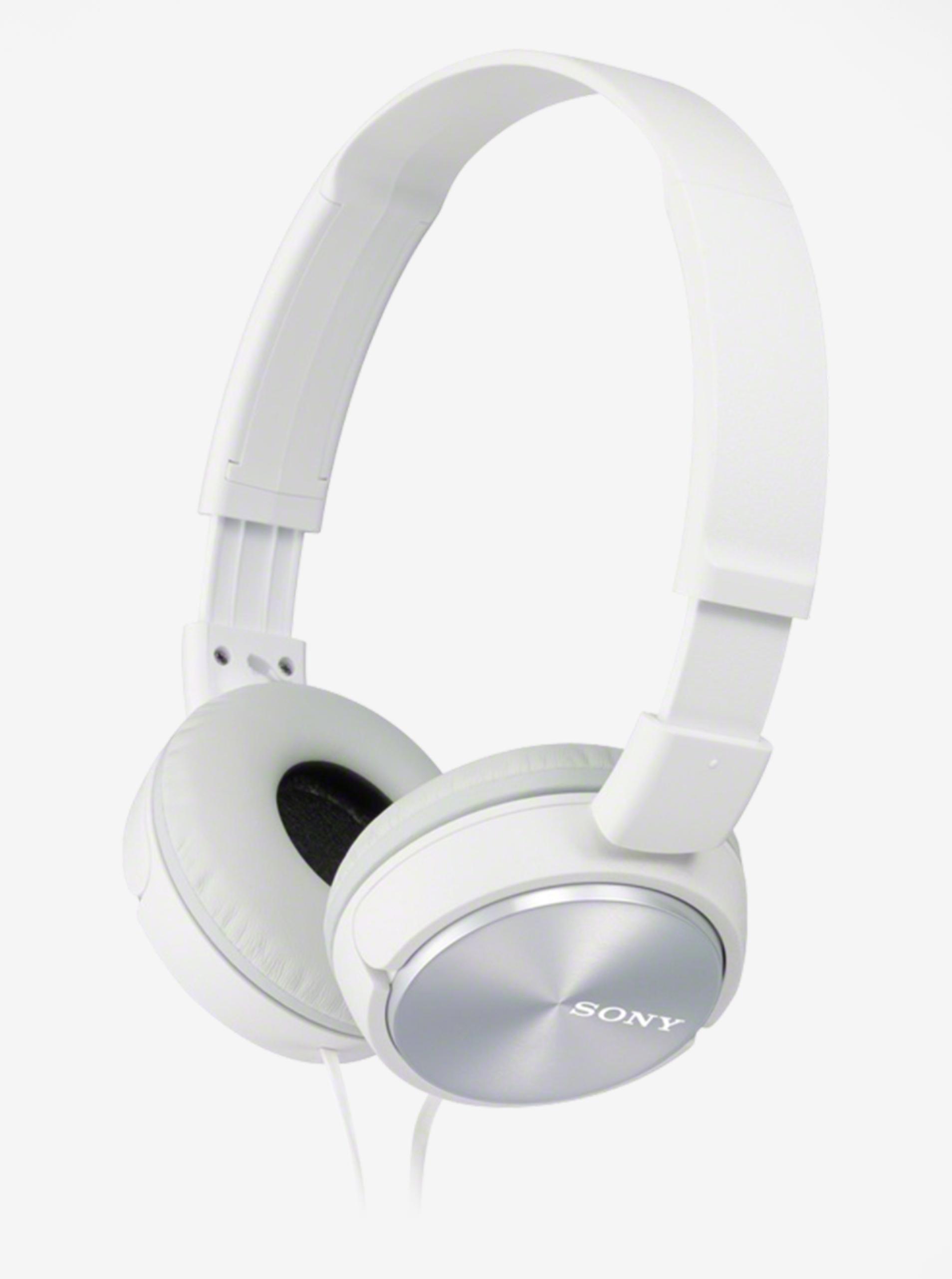 Bílá skládací sluchátka Sony