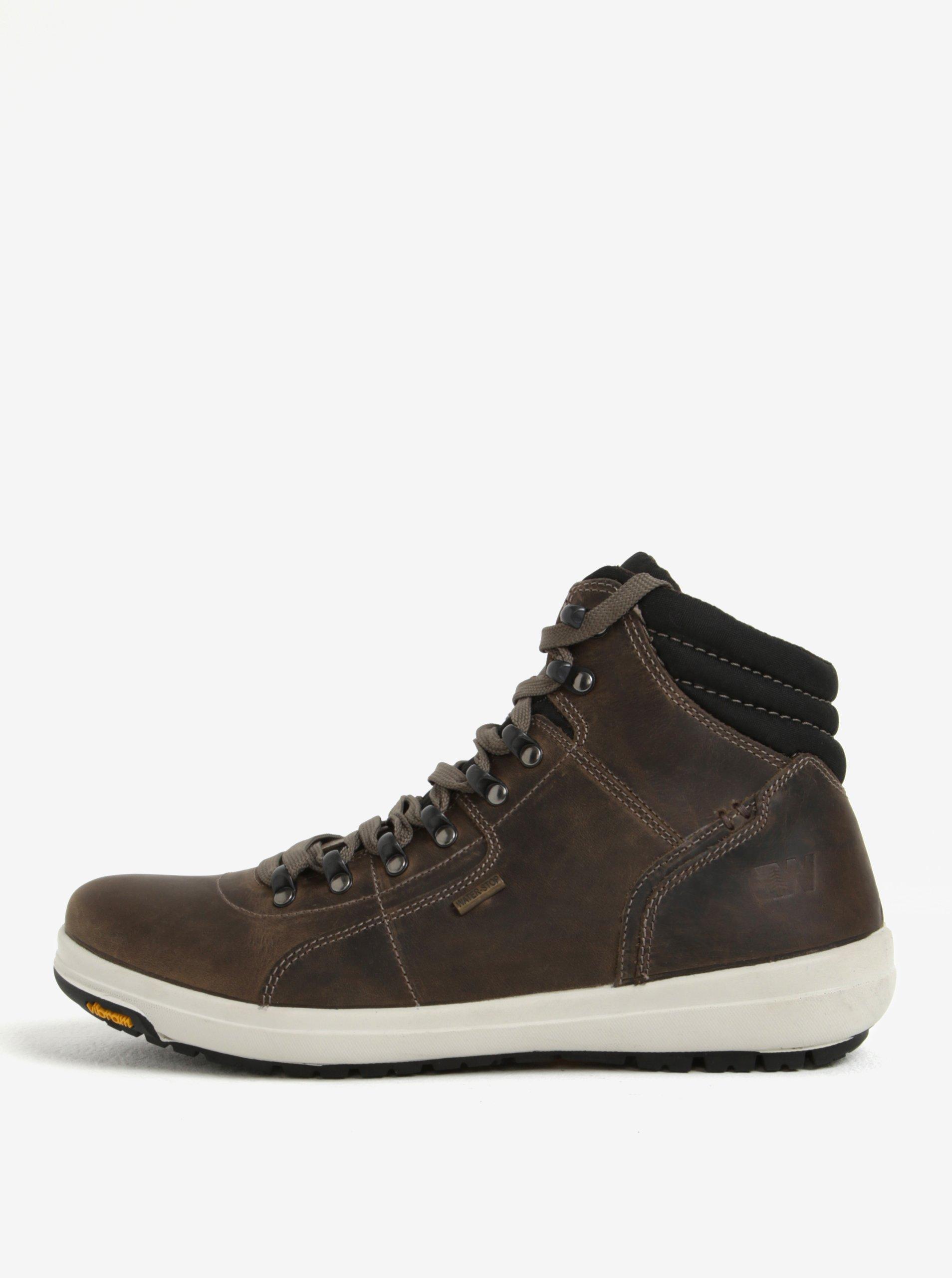 Hnědé pánské voděodolné kožené boty Weinbrenner