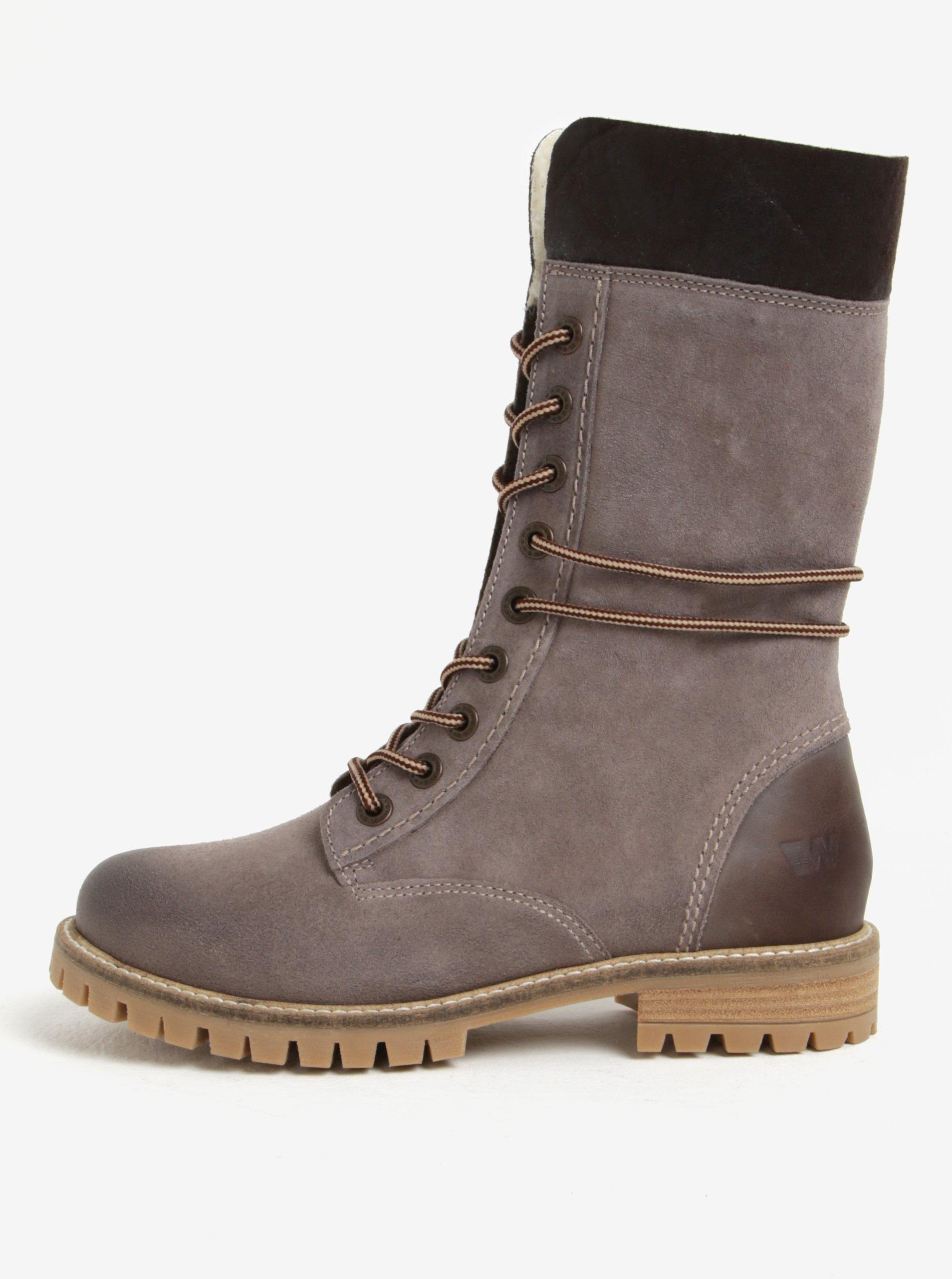 Šedé dámské kožené zimní kotníkové boty Weinbrenner