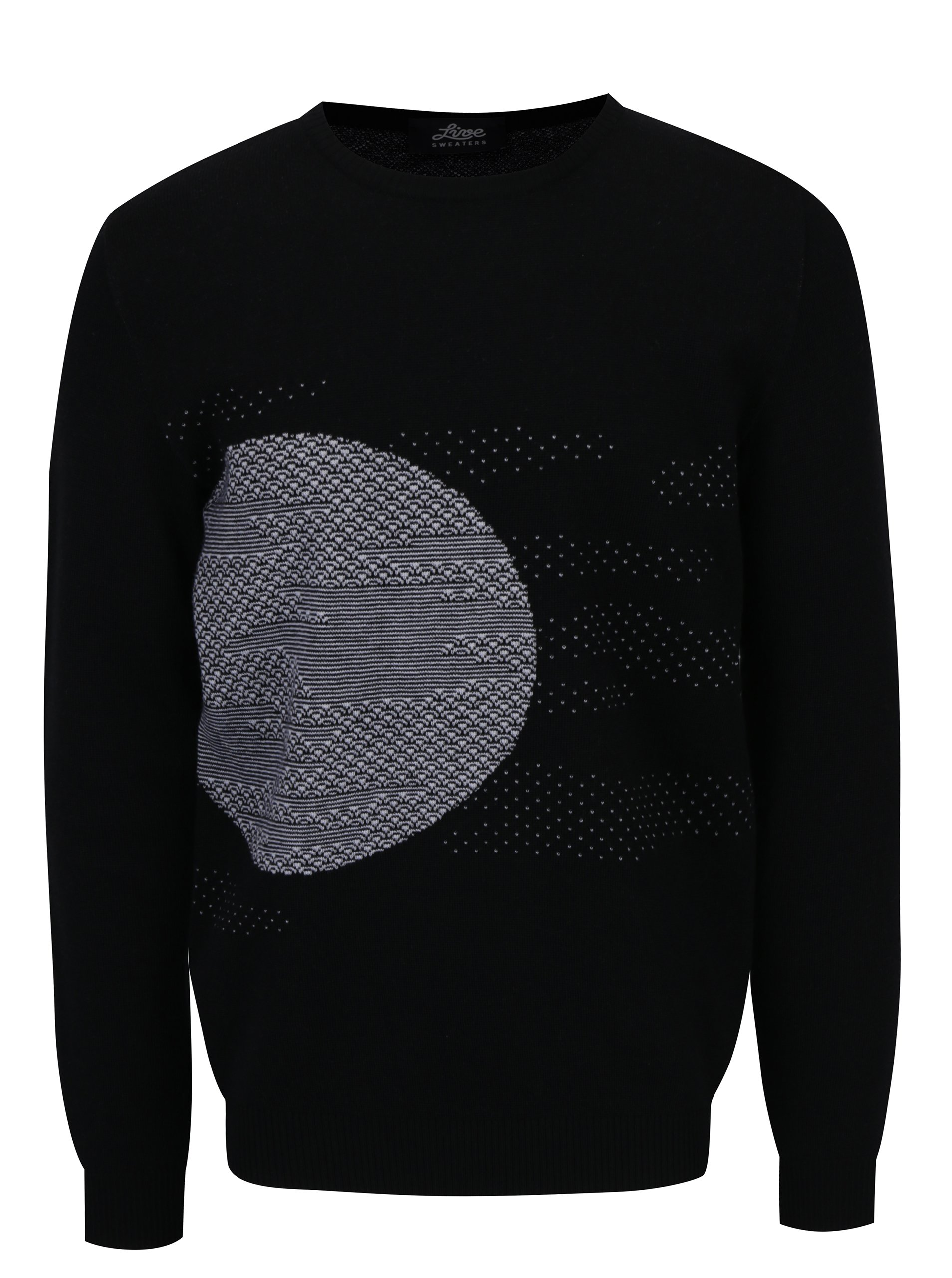 Bílo-černý svetr z merino vlny Live Sweaters Error On The Moon