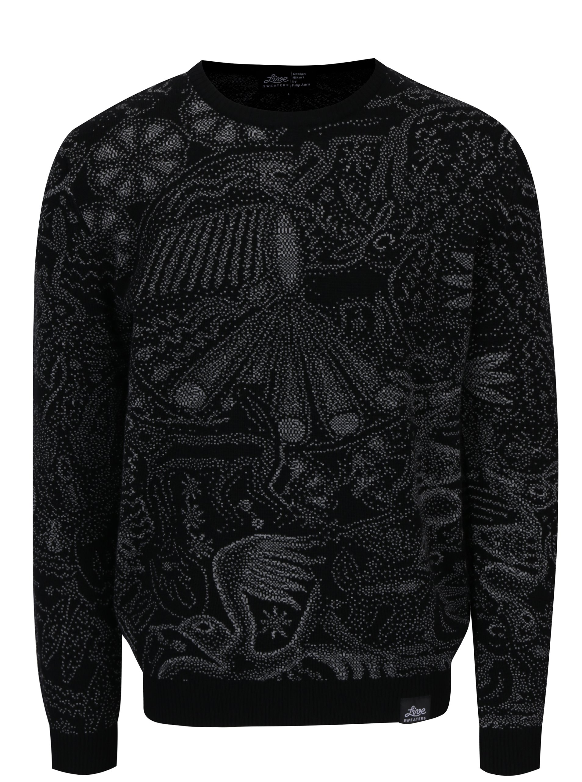 Šedo-černý svetr z merino vlny Live Sweaters Hikuri