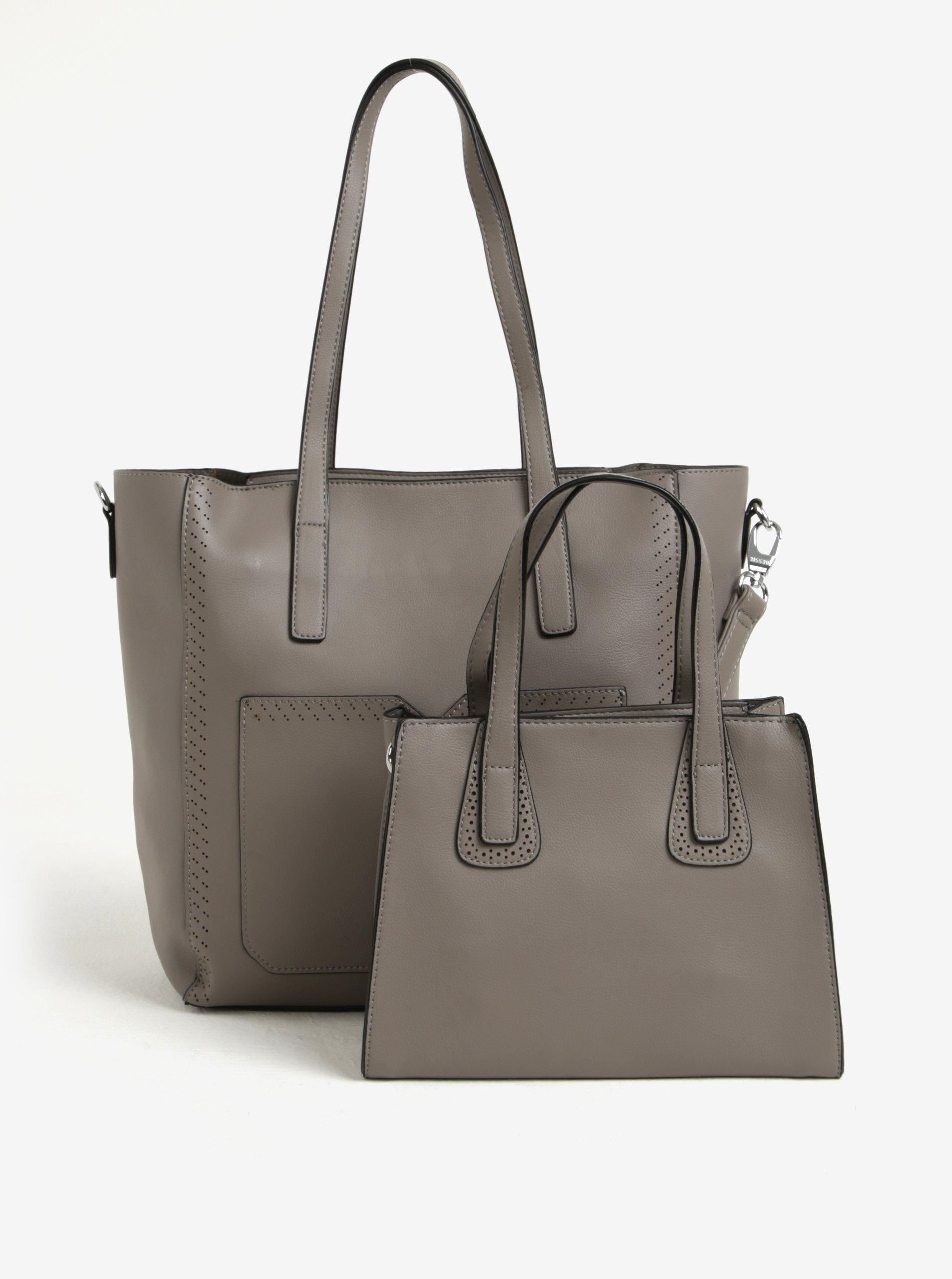 Šedá velká a malá kabelka s kapsou 2v1 Bessie London