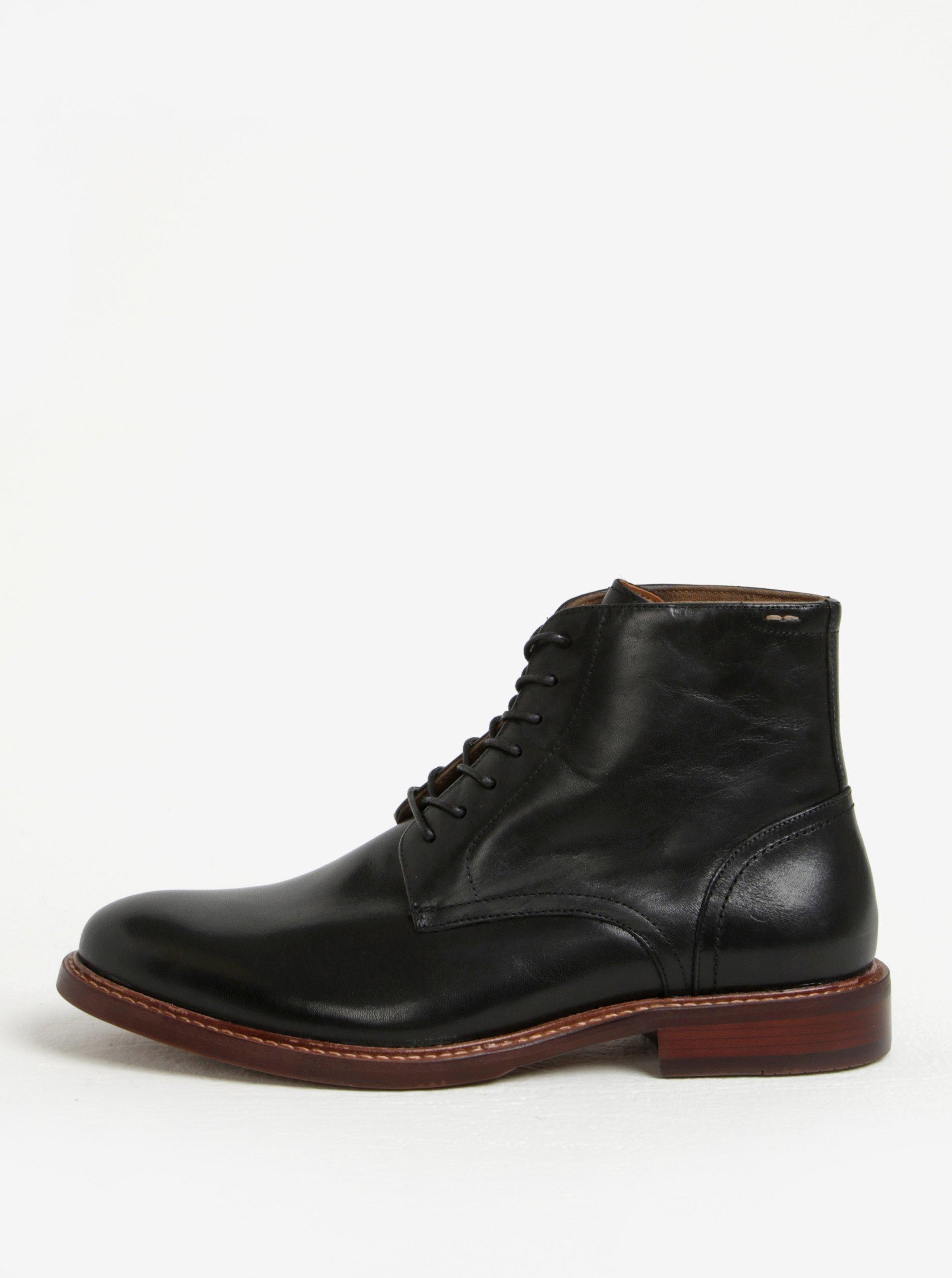 Černé pánské kožené kotníkové boty ALDO Lamere