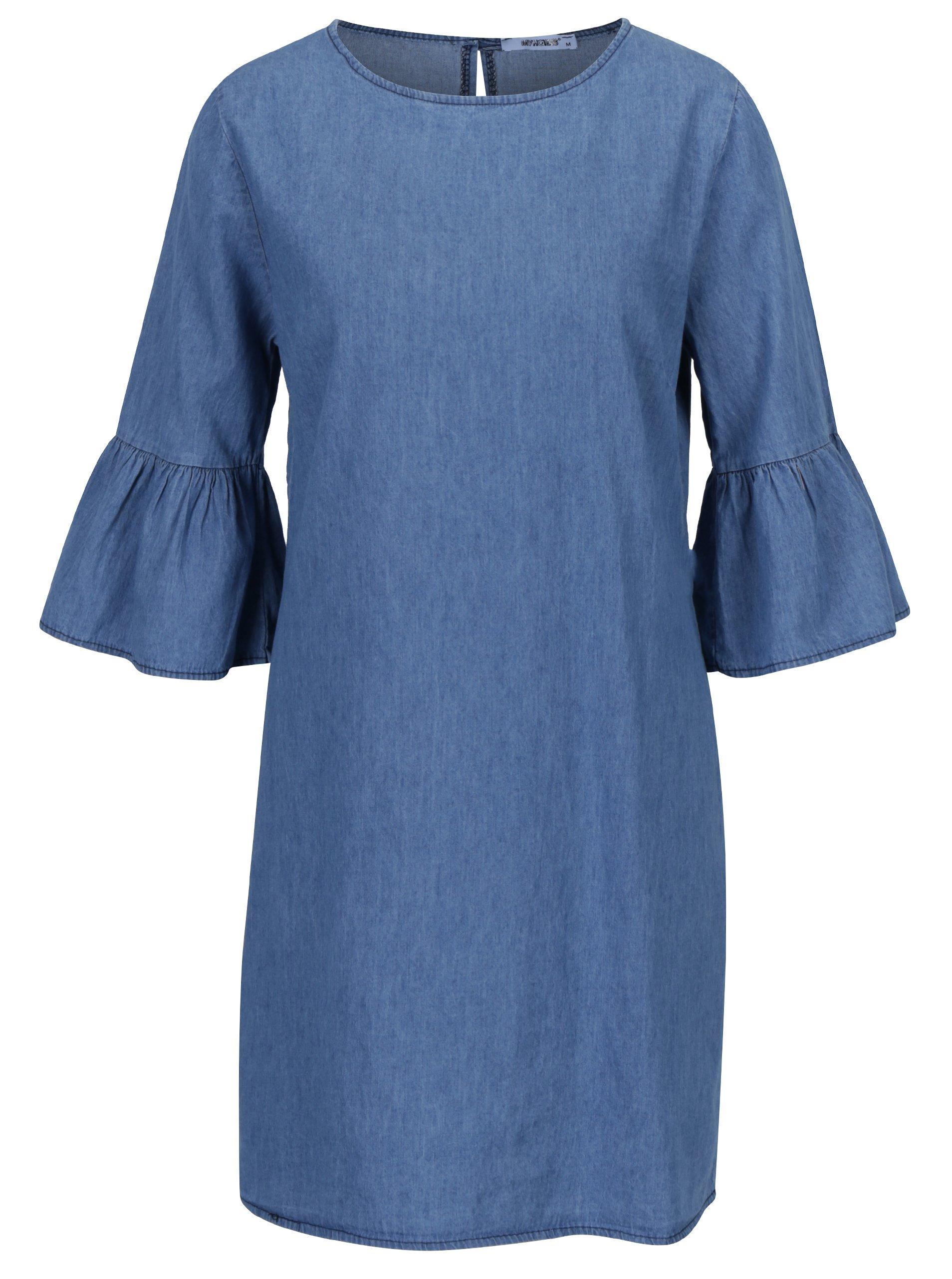 Modré džínové šaty se zvonovými rukávy Haily´s Alina