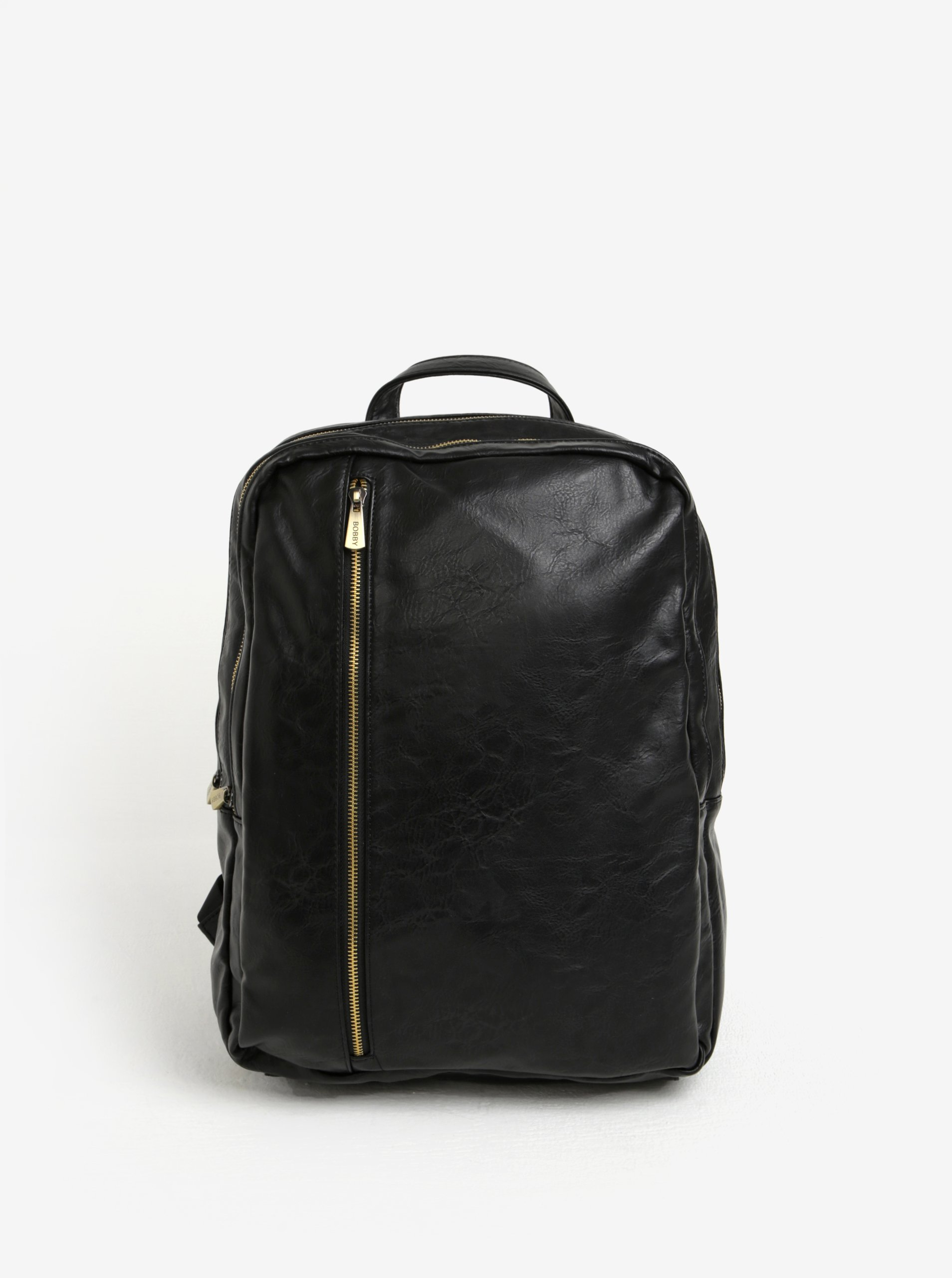 Černý batoh se zipy ve zlaté barvě Bobby Black