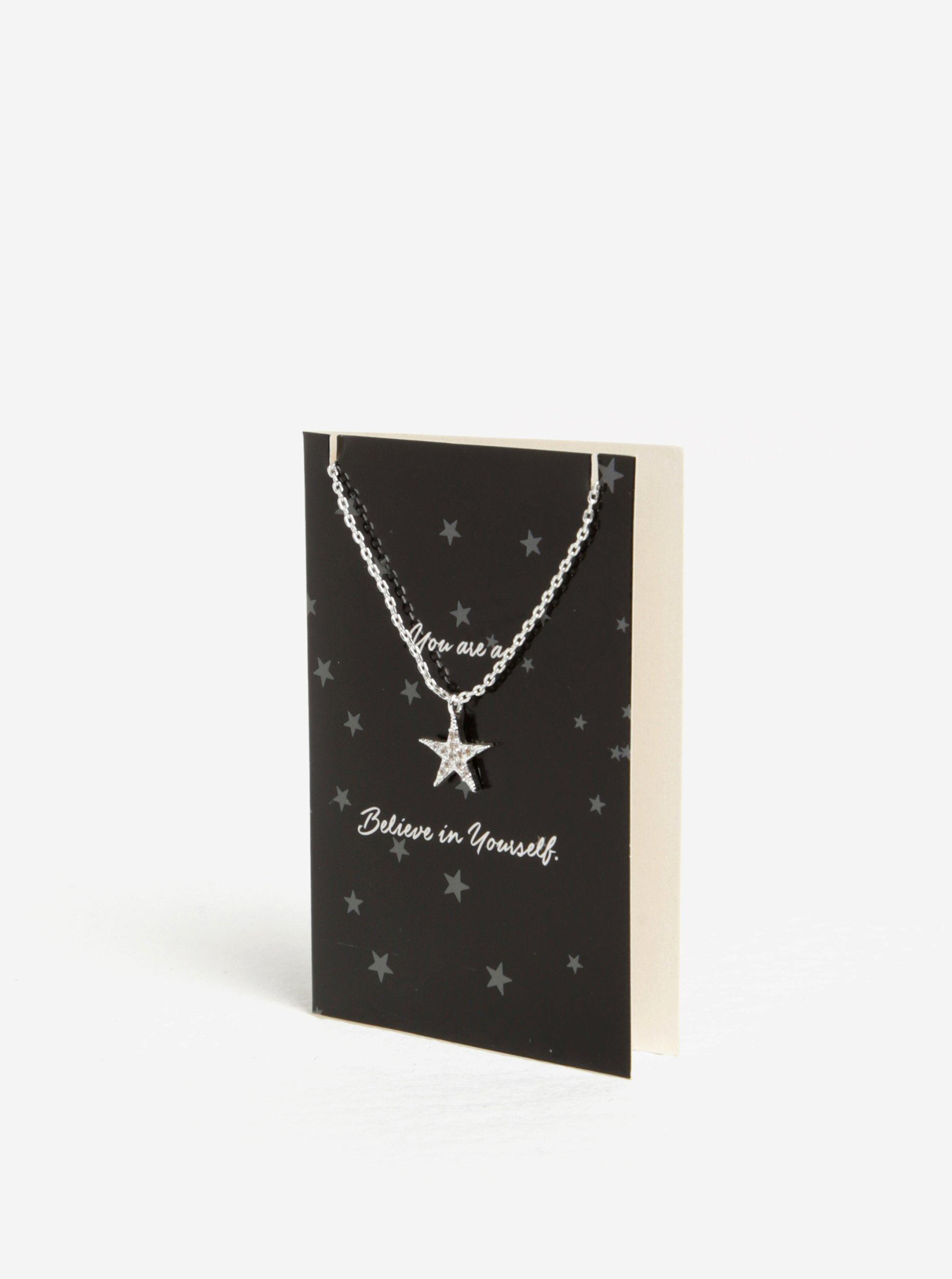 Náramek s přívěškem hvězdy ve stříbrné barvě Pieces Anchor