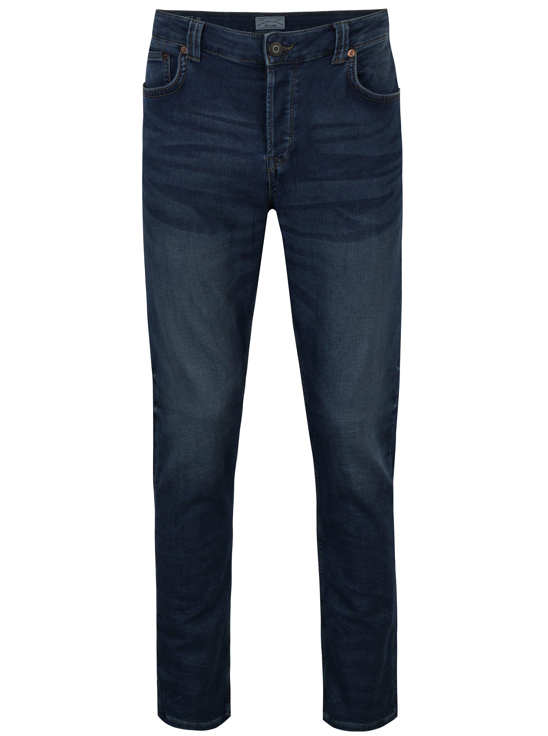 Fotografie Modré slim džíny s vyšisovaným efektem ONLY & SONS Loom