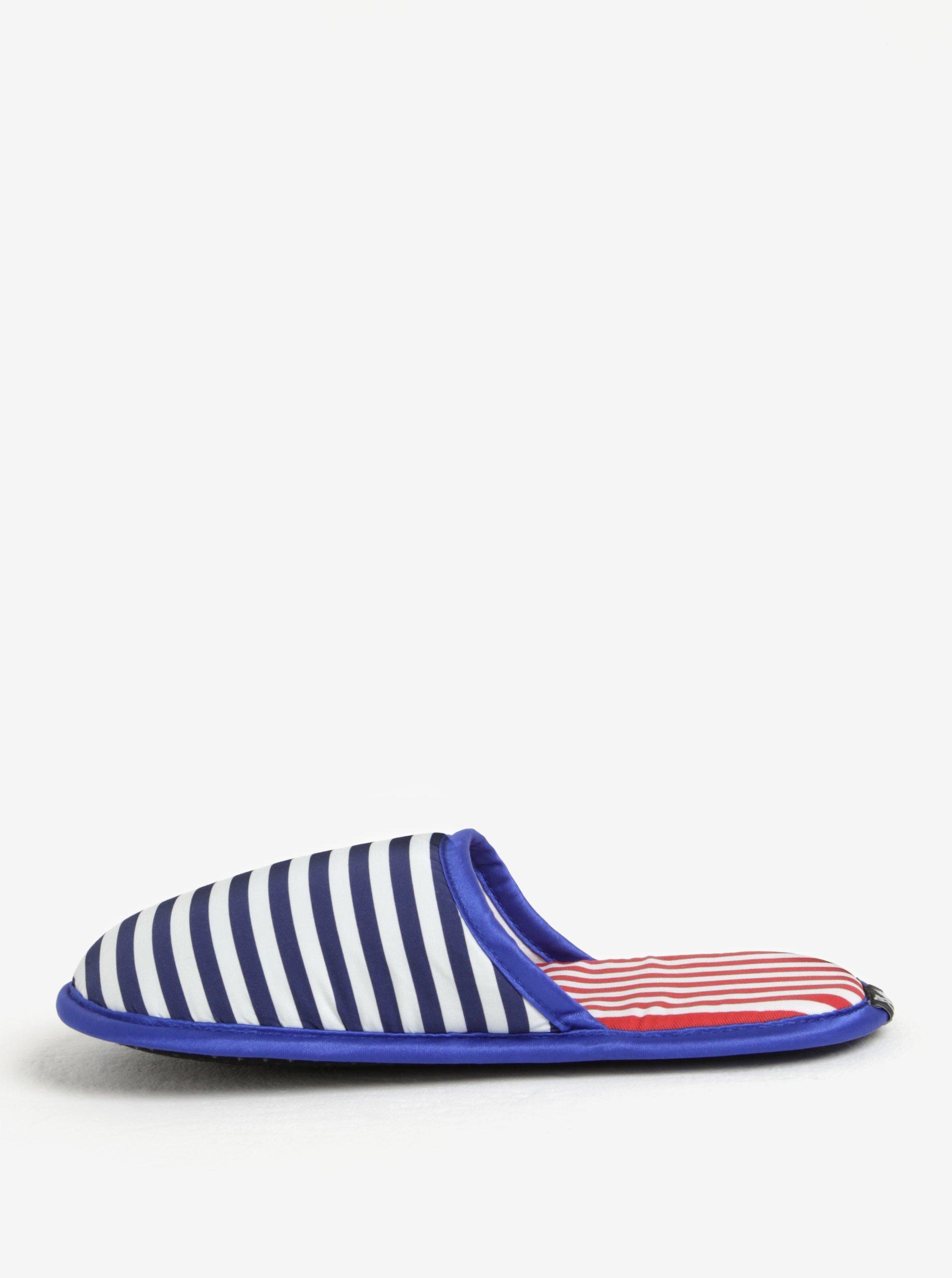 Modro-bílé unisex pruhované papuče Slippsy Old sailor