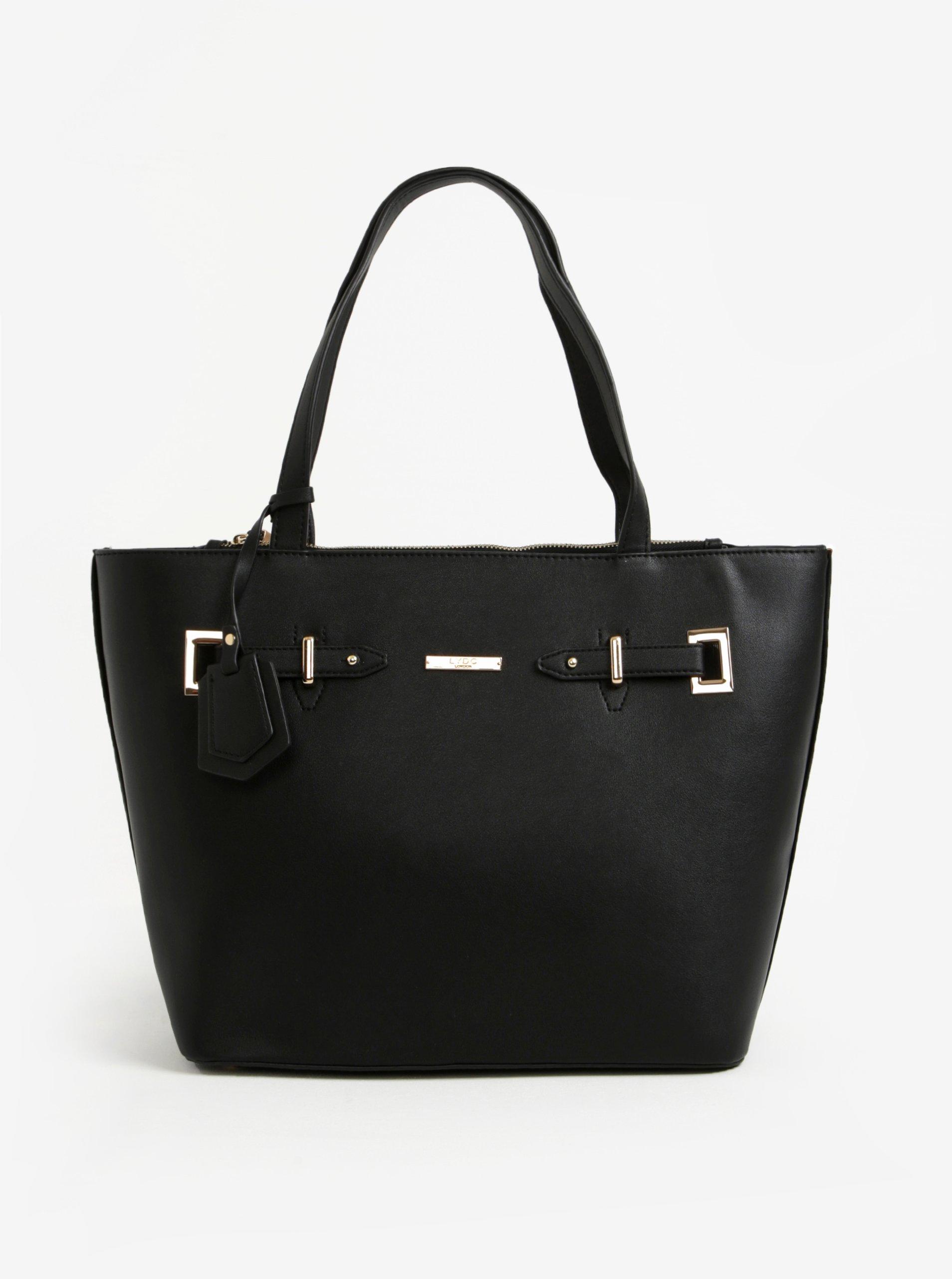Čierna kabelka s detailmi v zlatej farbe LYDC