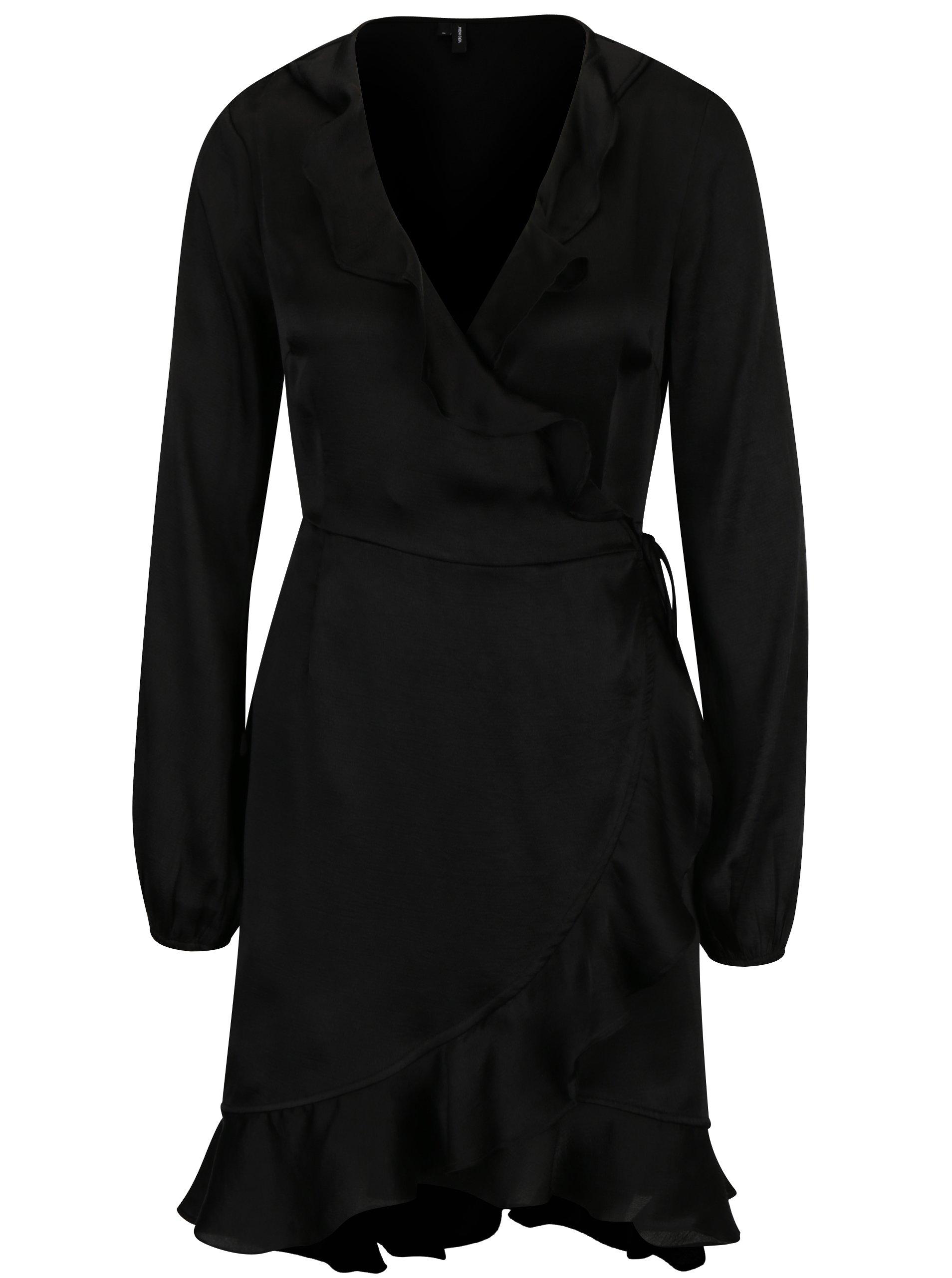 7f348fcc4776 Čierne zavinovacie šaty s volánmi VERO MODA Henna