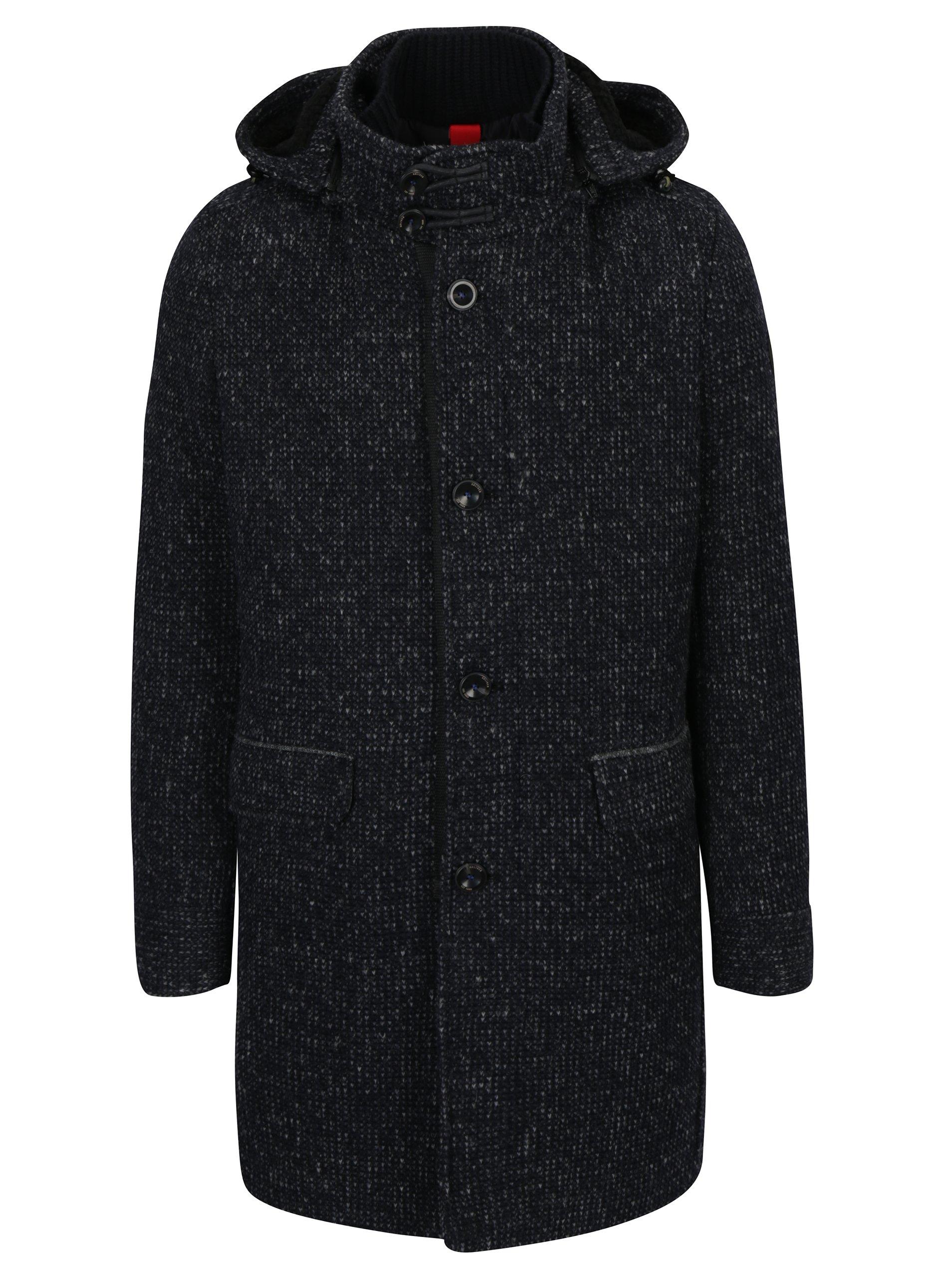 Šedo-modrý pánský žíhaný vlněný zimní kabát s kapucí s.Oliver