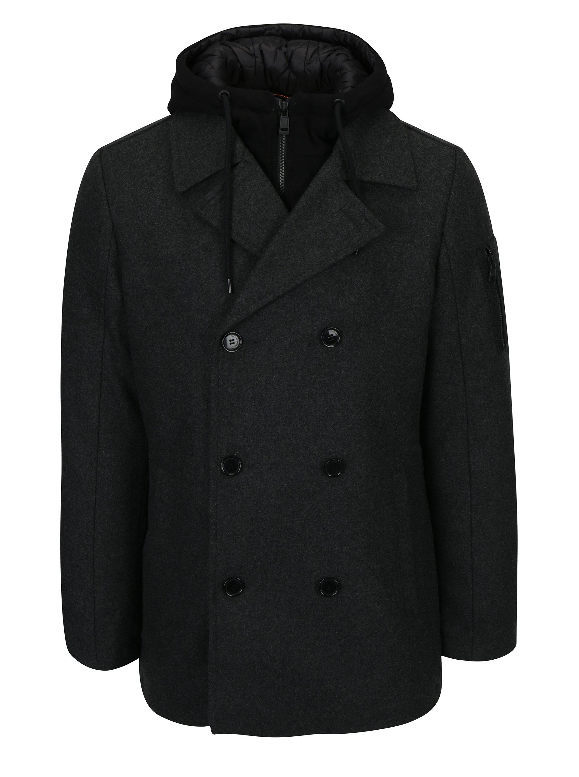 Tmavosivý pánsky melírovaný krátky kabát s prímesou vlny s.Oliver