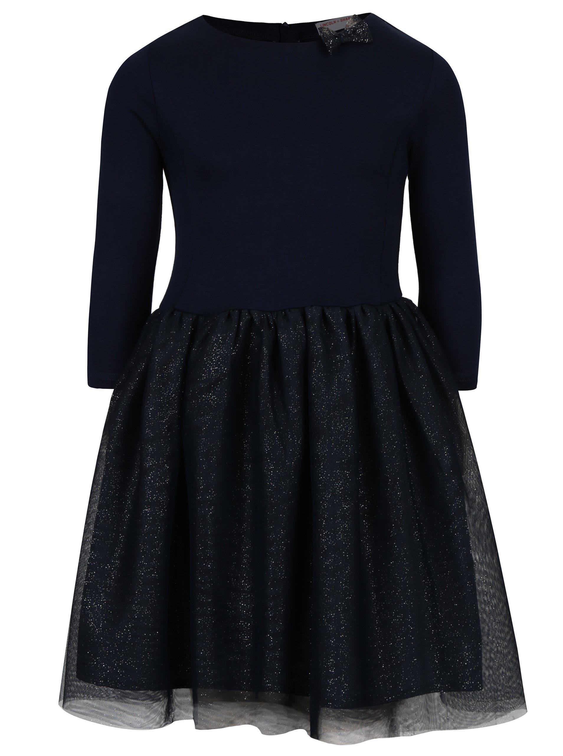Tmavomodré dievčenské šaty s trblietavou tylovou sukňou 5.10.15.