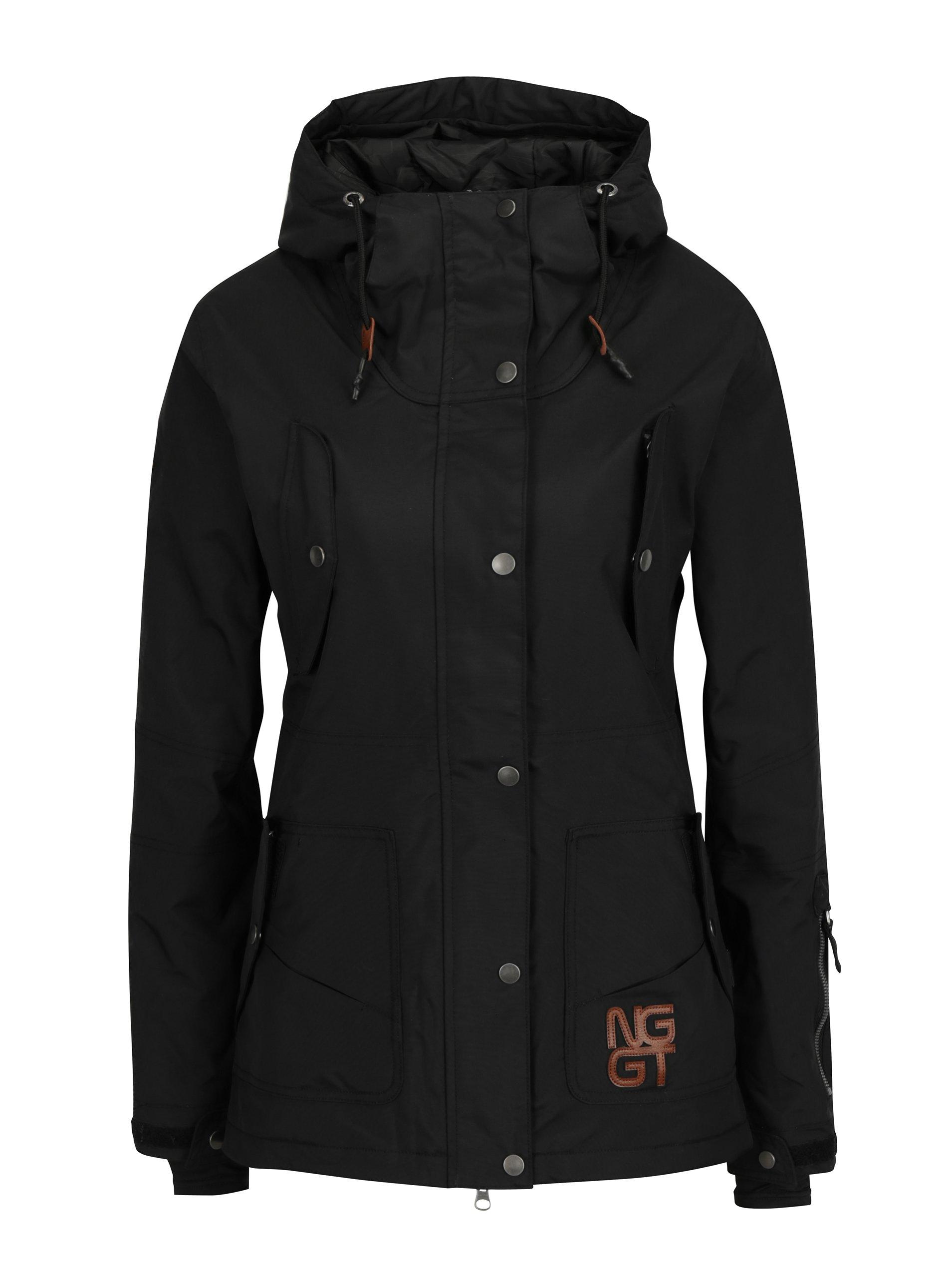 Černá dámská nepromokavá zimní bunda s kapucí NUGGET Anja