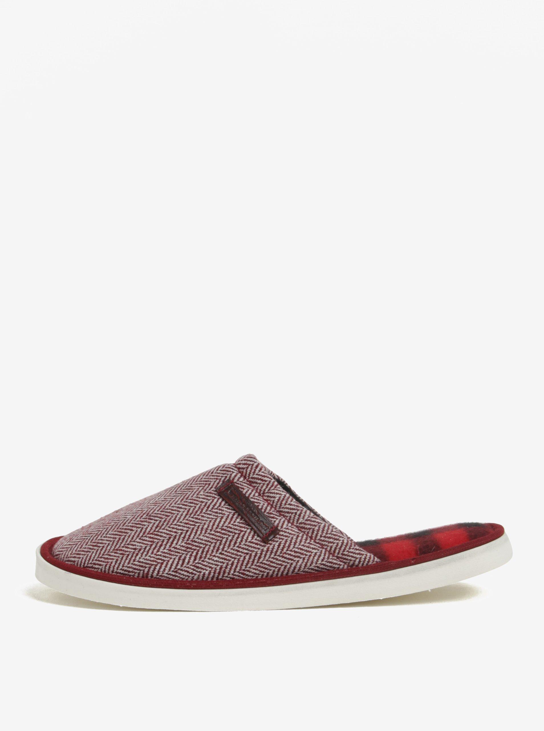 Krémovo-červené unisex vzorované papuče Oldcom Luxhome