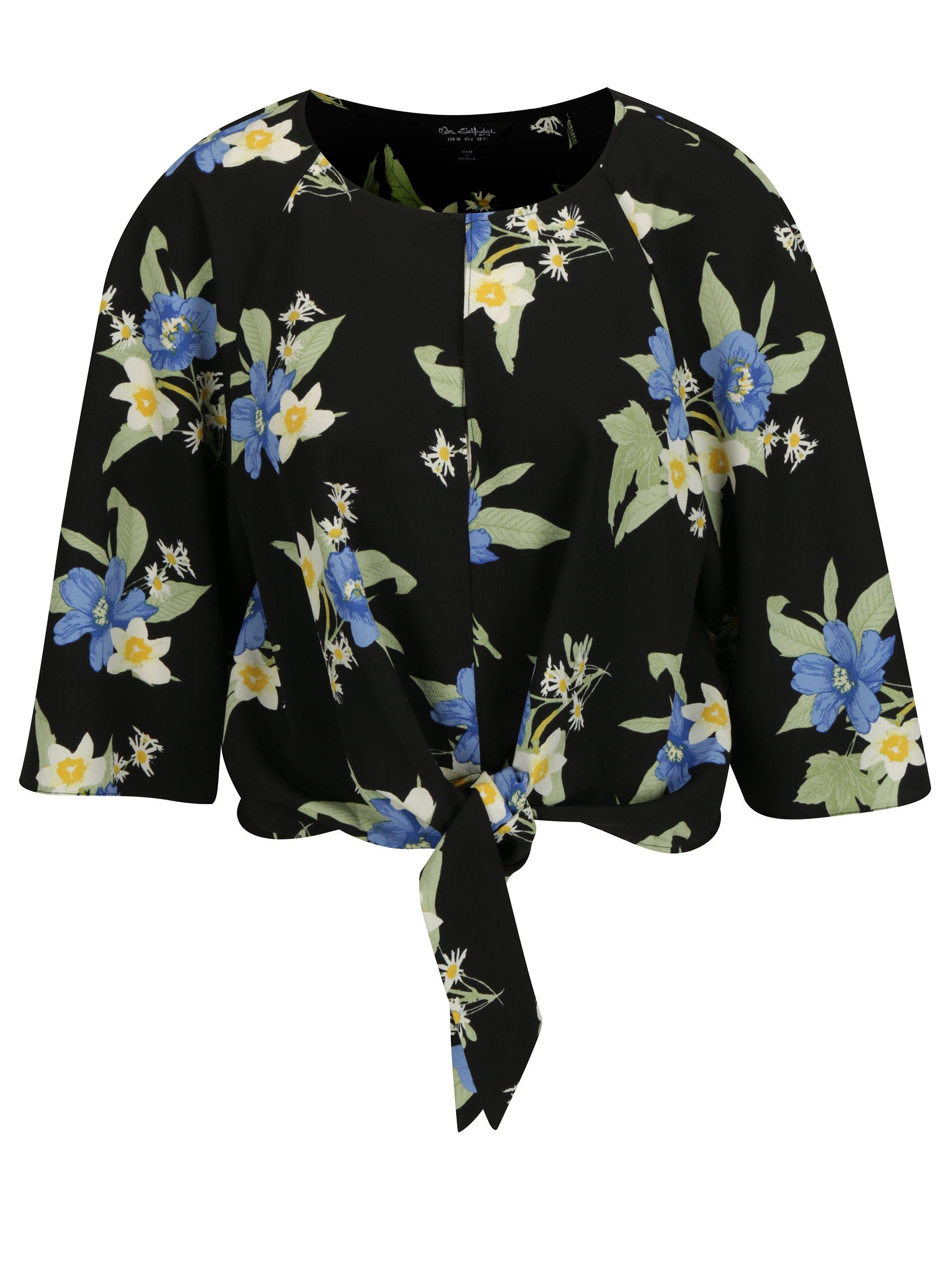 7e64633ec257 Čierny kvetovaný crop top s 3 4 rukávom Miss Selfridge