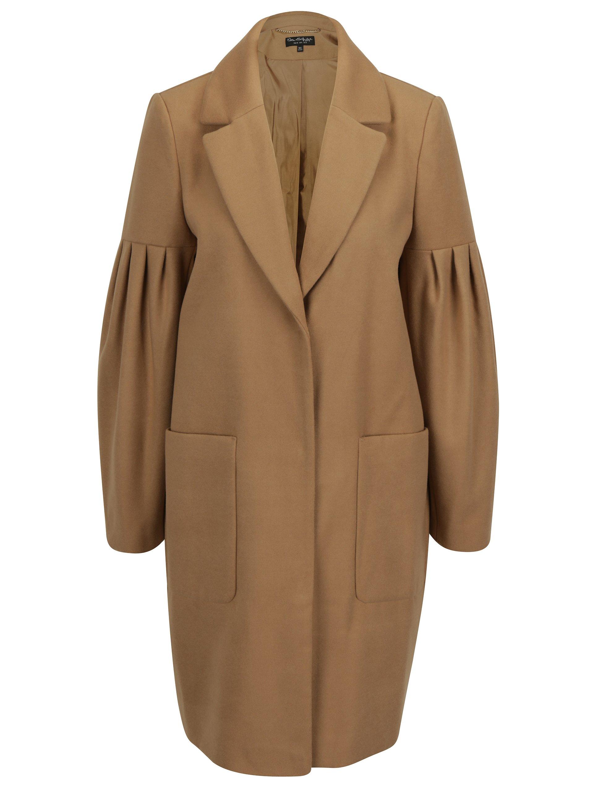 Béžový kabát s kapsami Miss Selfridge