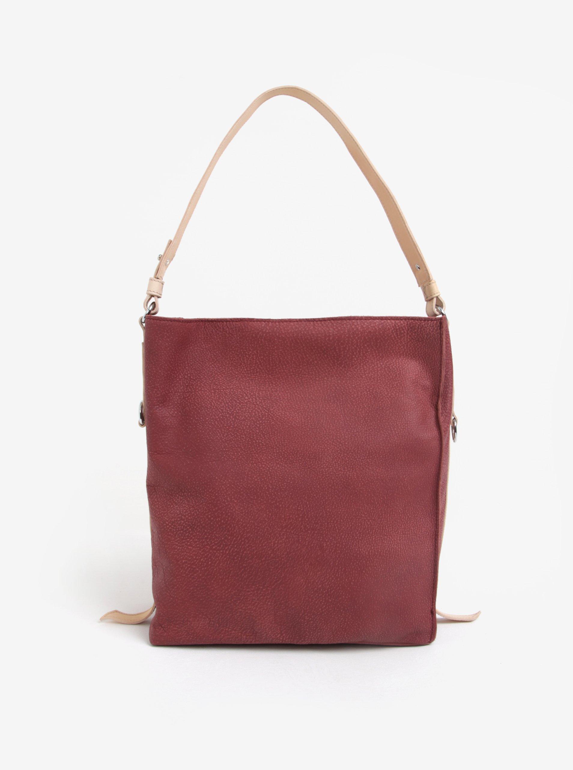 Krémovo–vínová kožená kabelka ELEGA Malý Buffy