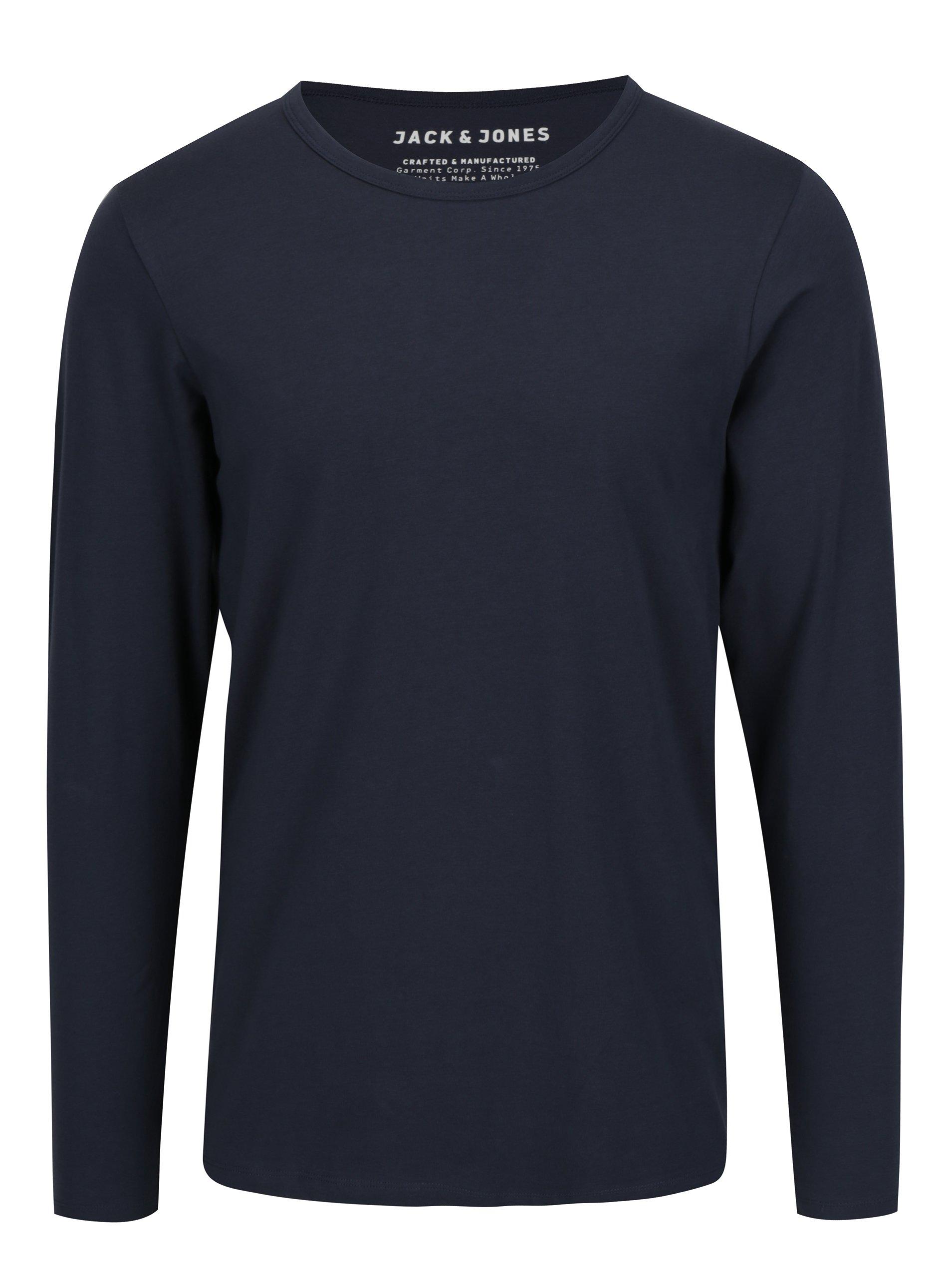 Tmavě modré tričko s dlouhým rukávem Jack & Jones Basic