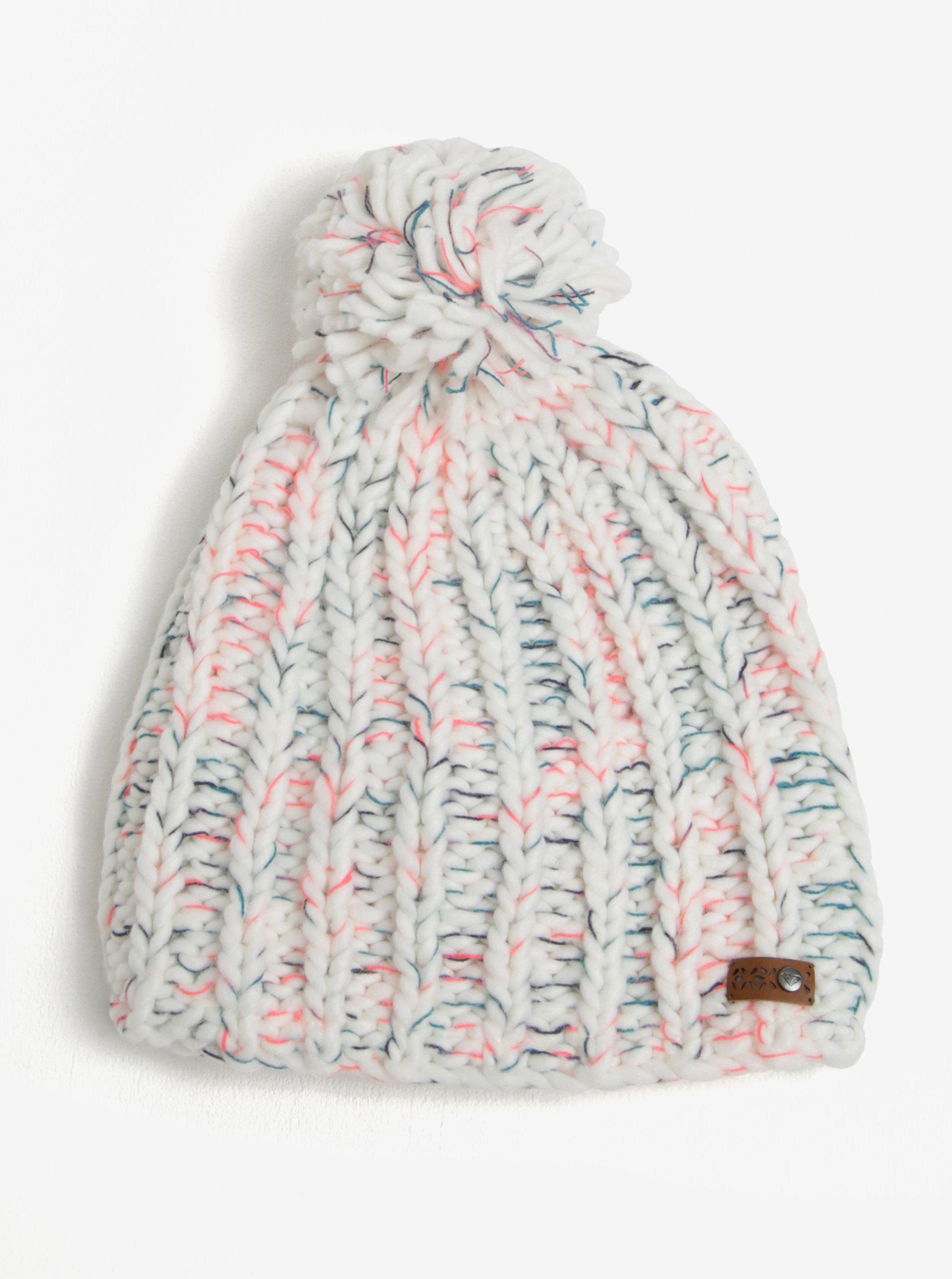 Bílá dámská pletená čepice s bambulí Roxy Nola