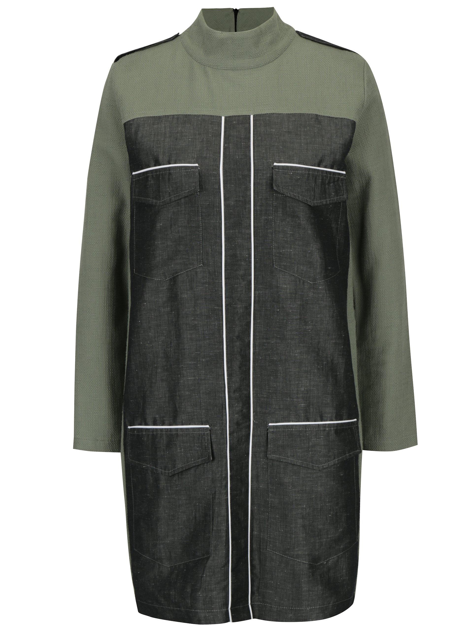 Sivo-zelené šaty s vreckami Framboise Lorna
