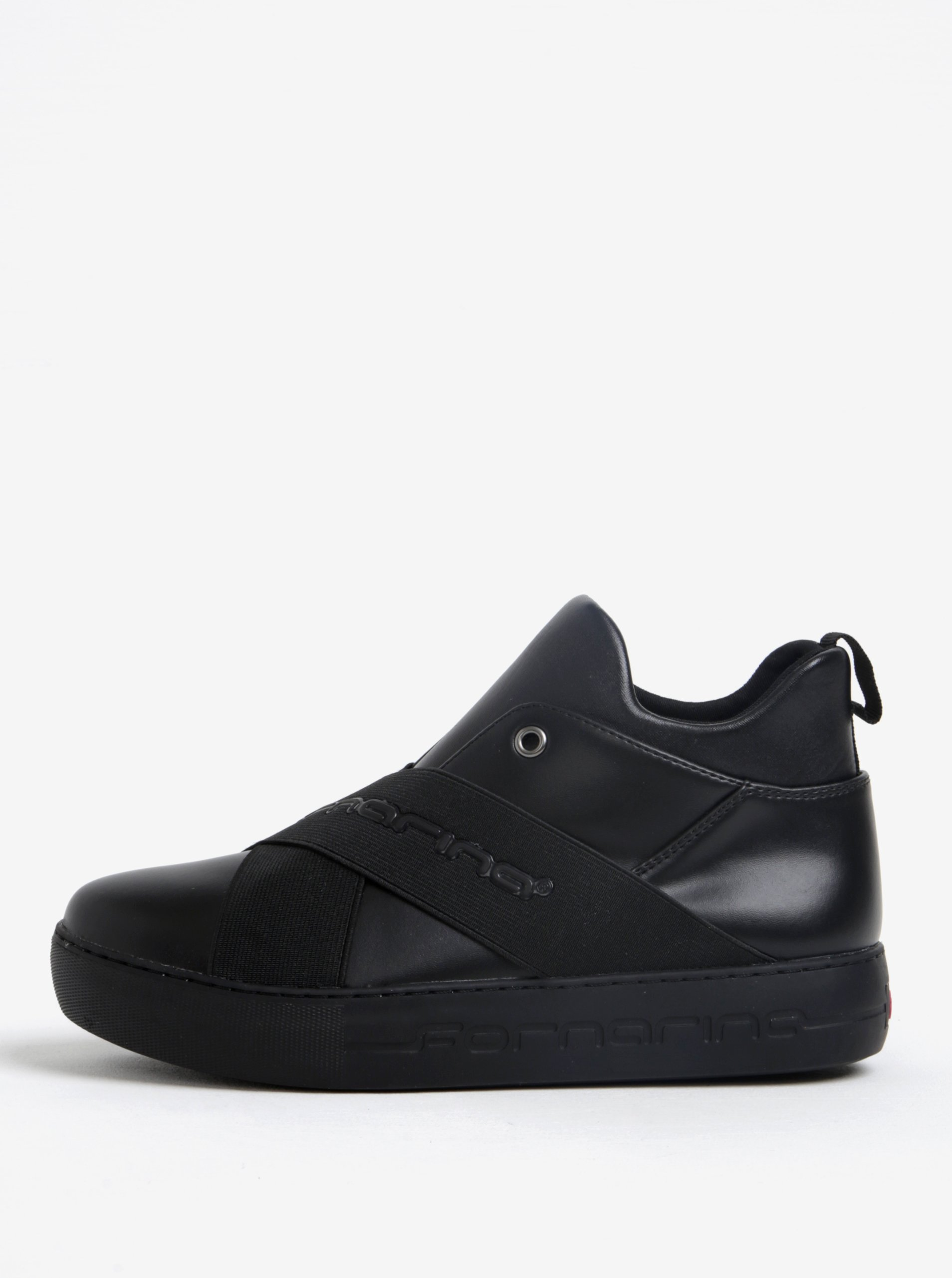 Černé kožené kotníkové boty na platformě Fornarina Yuma