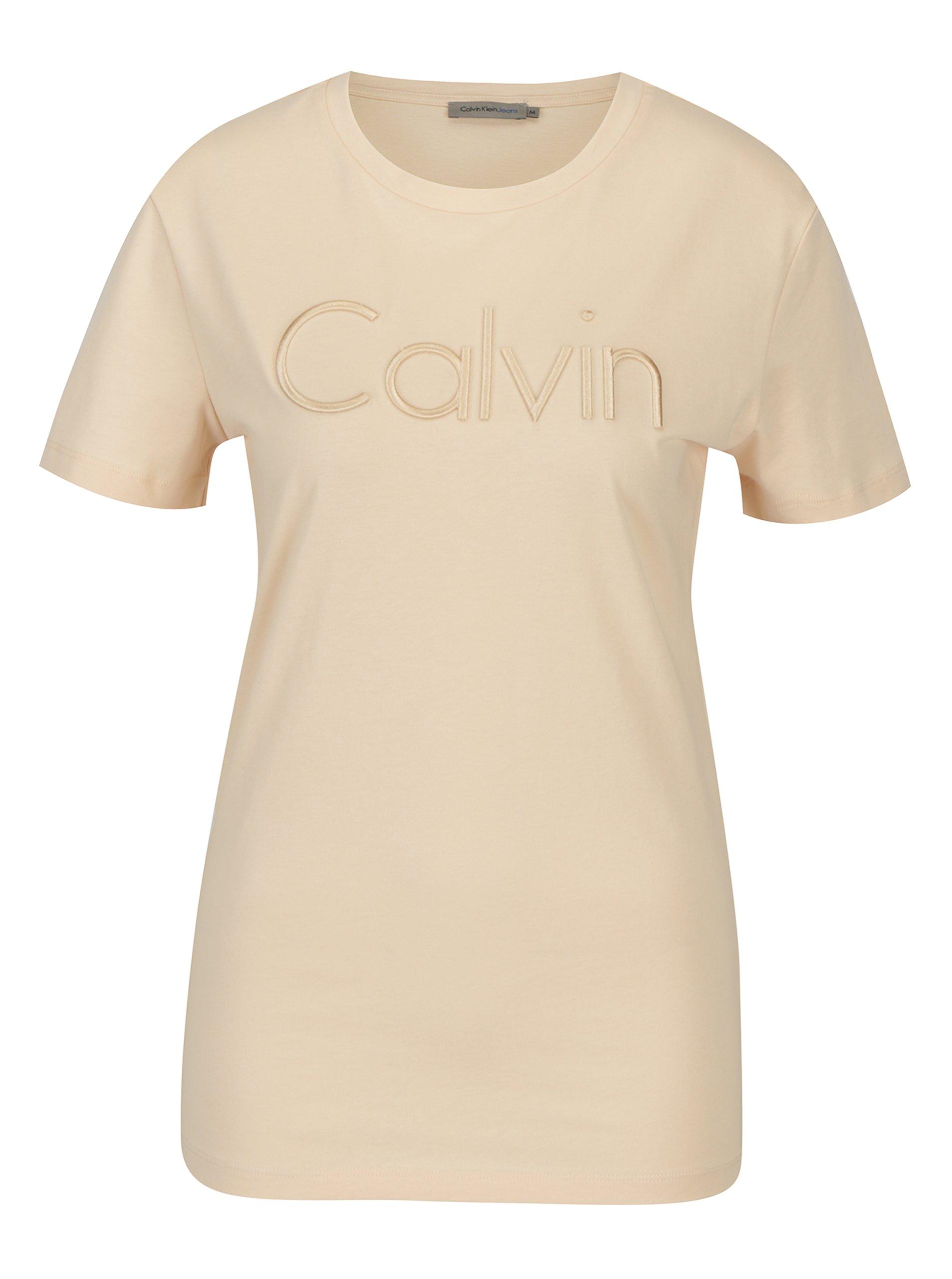 Světle růžové dámské tričko s výšivkou Calvin Klein Jeans Tanya