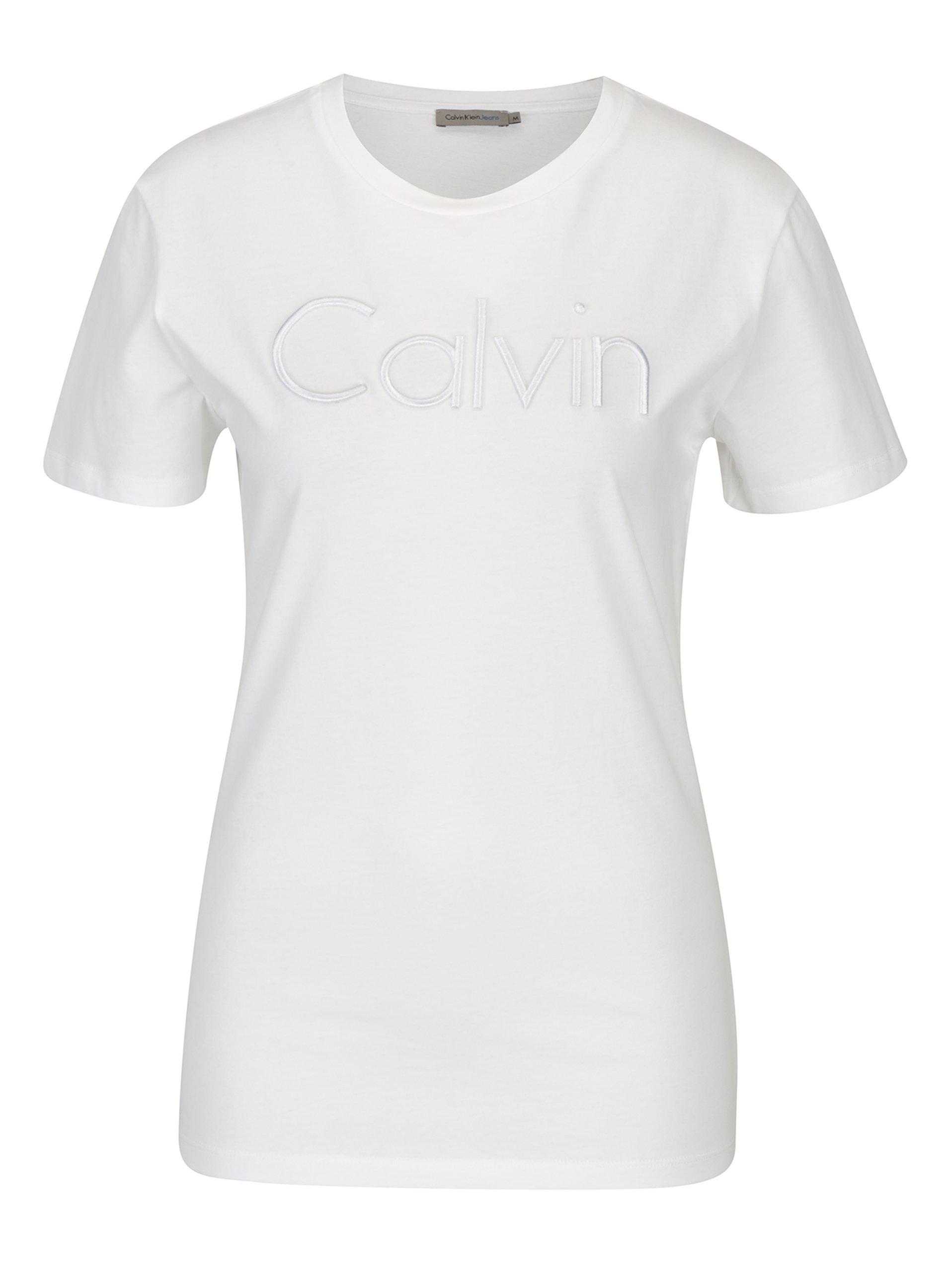 Bílé dámské tričko s výšivkou Calvin Klein Jeans Tanya