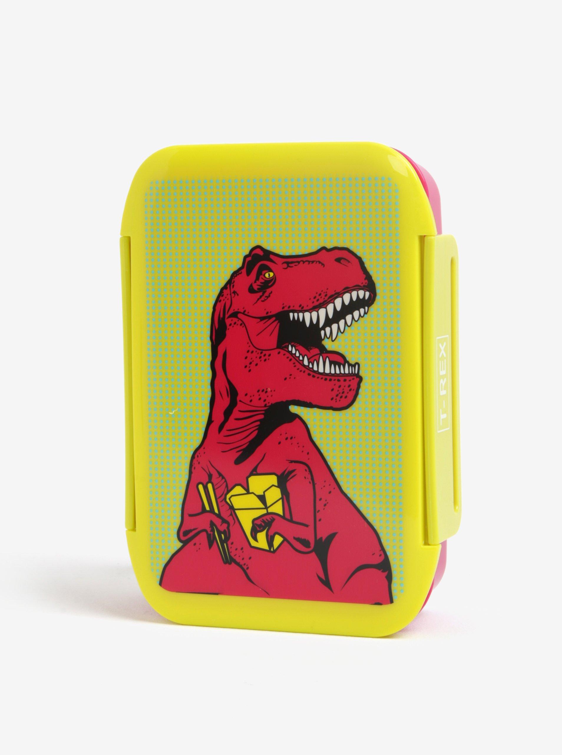 Žlto-ružový box na jedlo s motívom T-Rexa Mustard