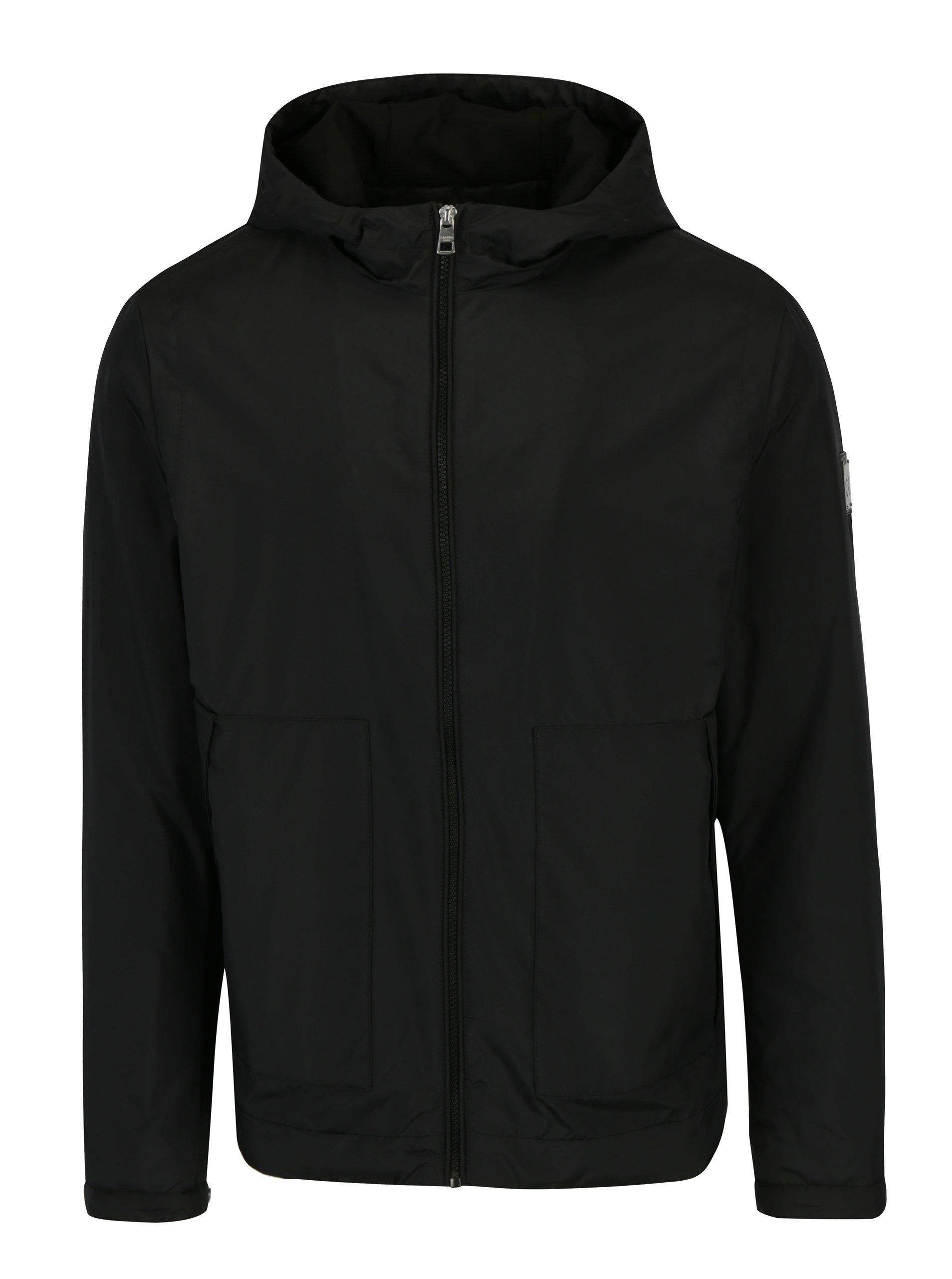 Fotografie Černá pánská bunda s kapucí Calvin Klein Jeans Ondo