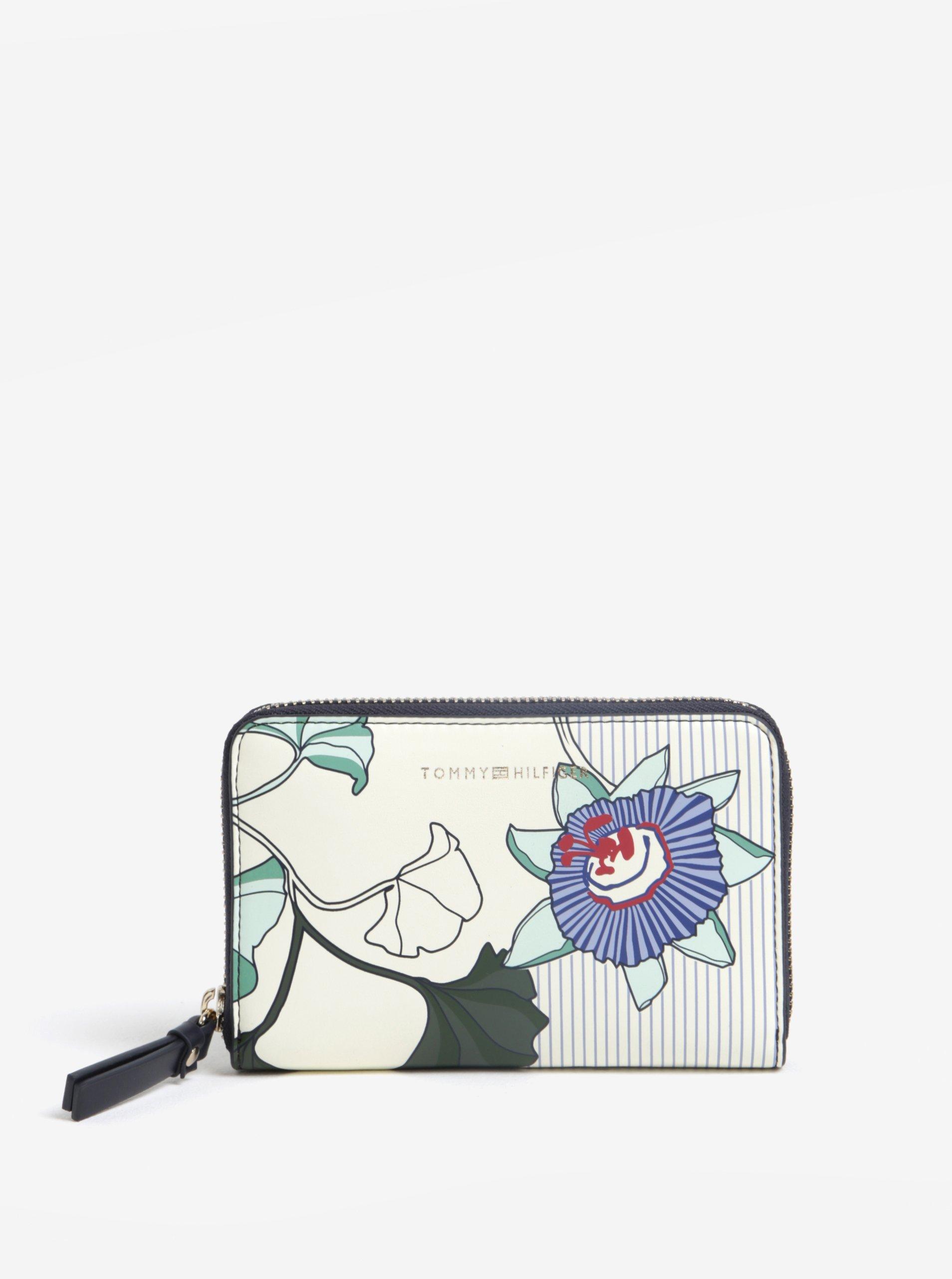 Krémová dámská květovaná peněženka Tommy Hilfiger