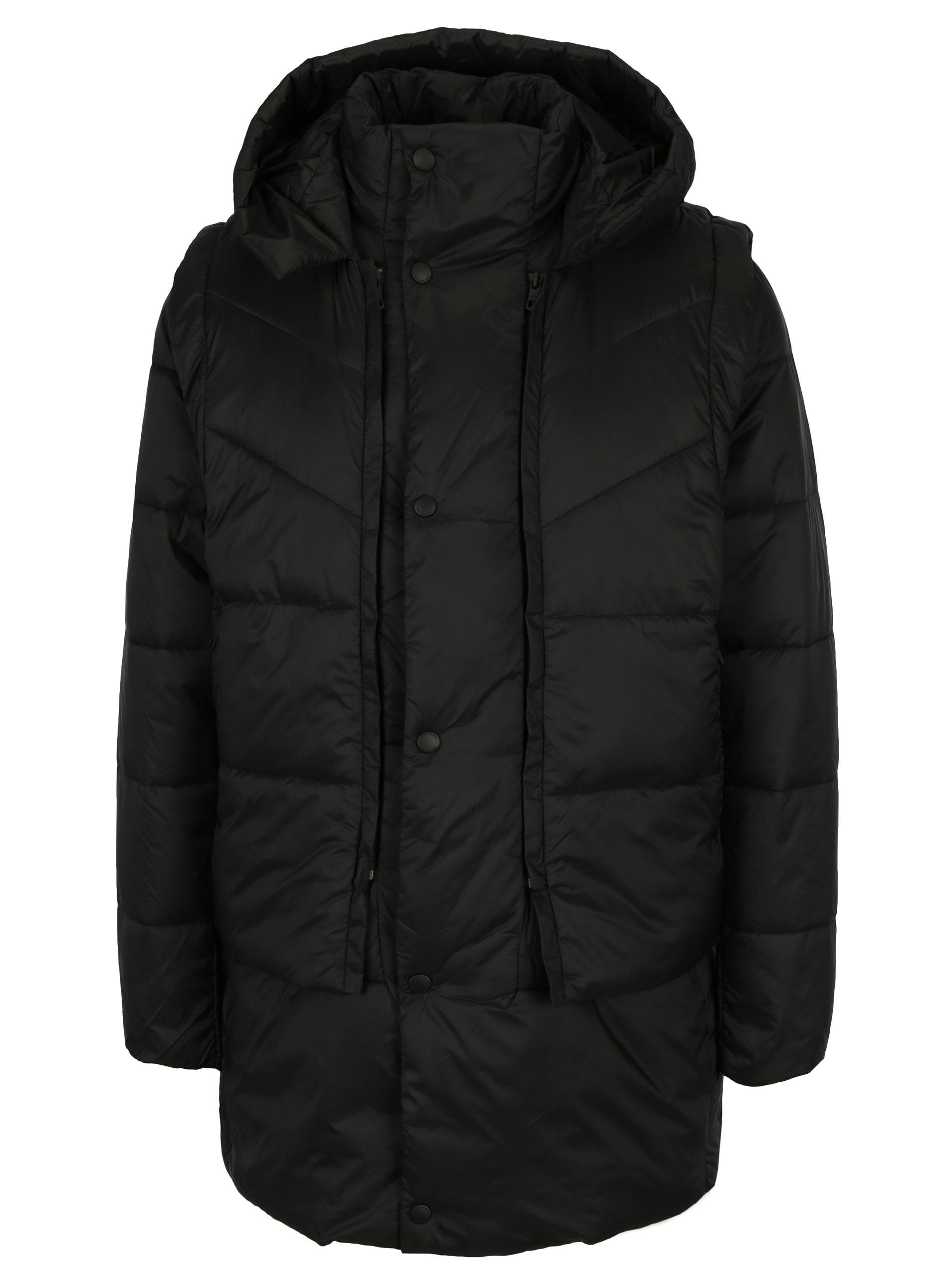 Fotografie Černá pánská bunda s odepínatelnou prošívanou vestou Calvin Klein Jeans