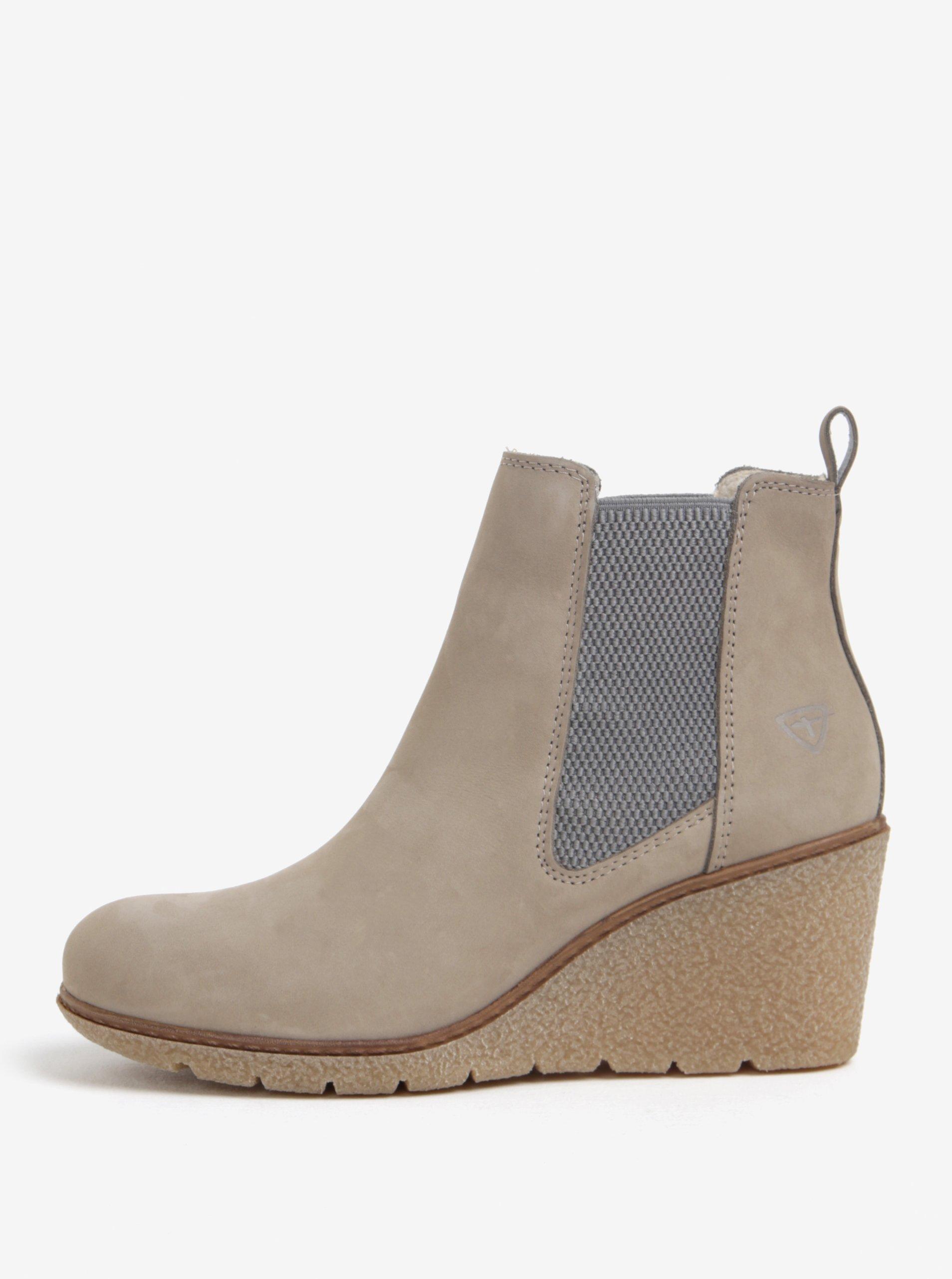 Béžové kožené kotníkové chelsea boty na klínku Tamaris
